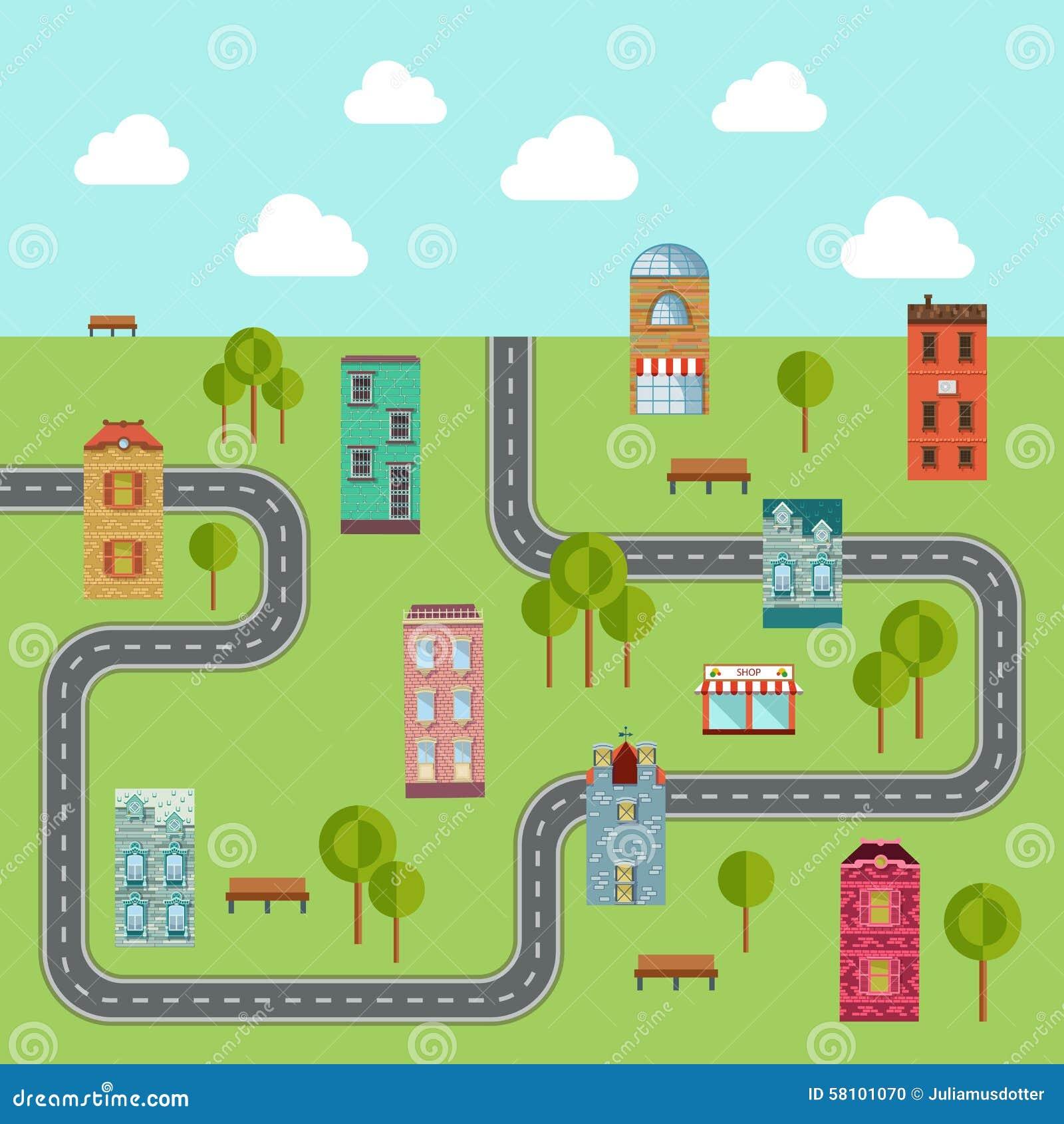 Urban Landscape Vector Illustration Of Community Stock