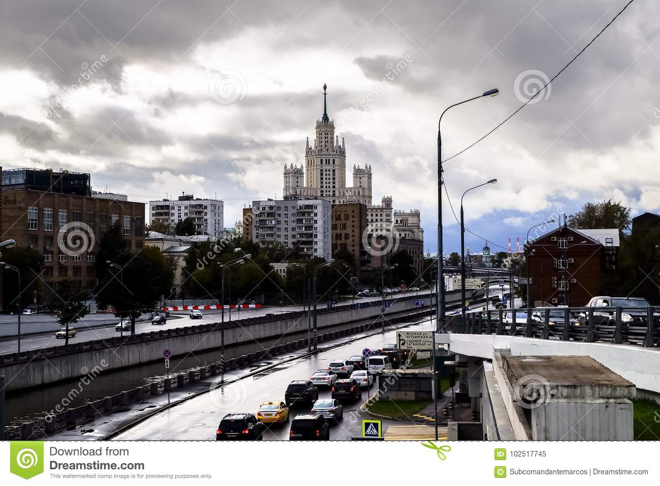Urban landscape. View of the river Yauza and its embankments on rainy day, Moscow, Russia.