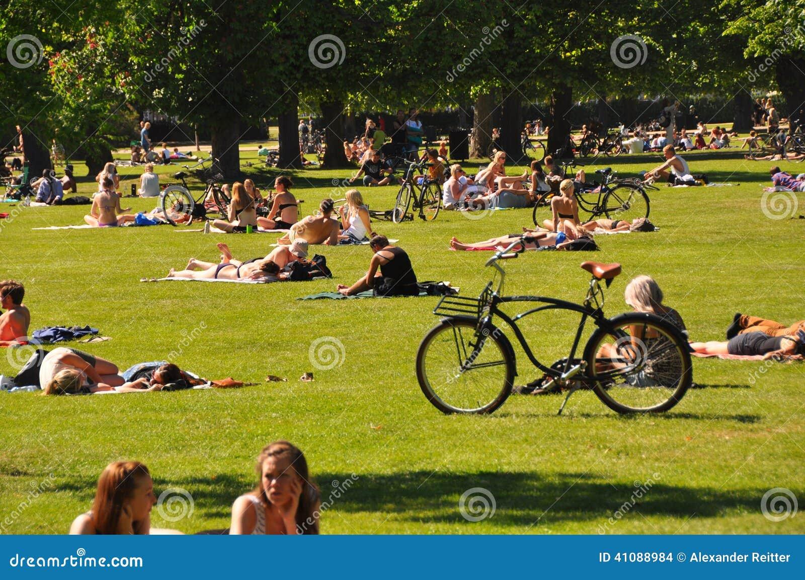 Urban Lifestyle - People Sunbathing In City Park ...