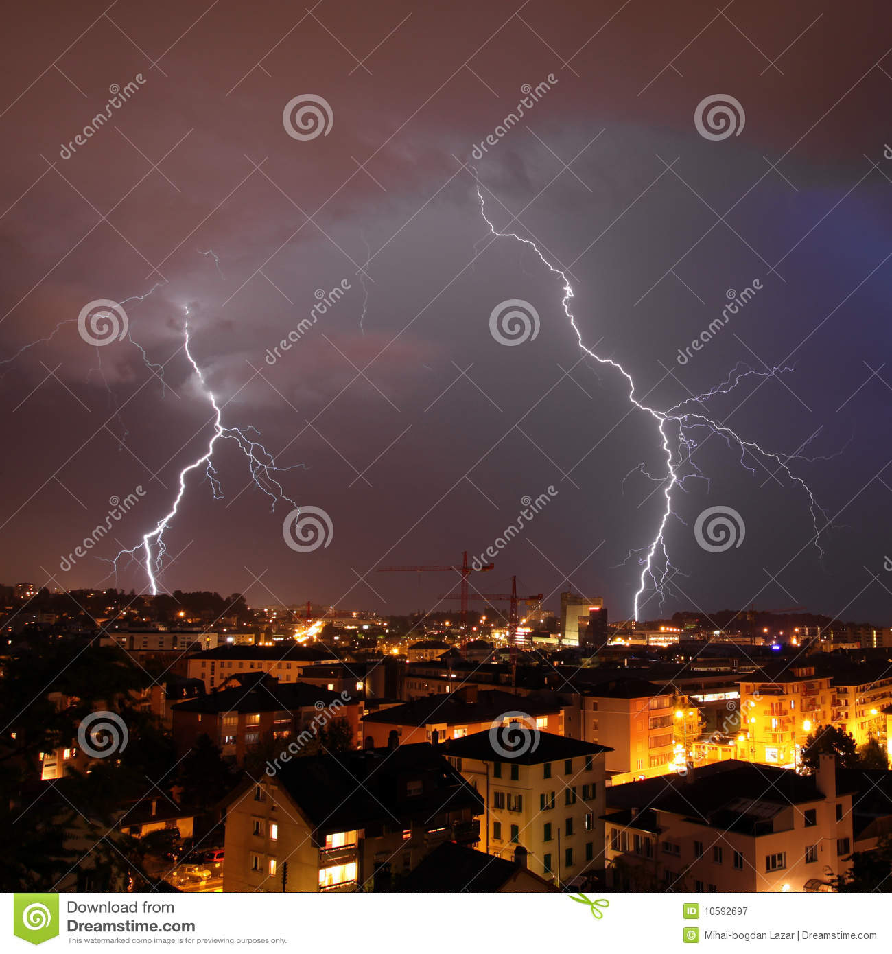 Urban lightning strike