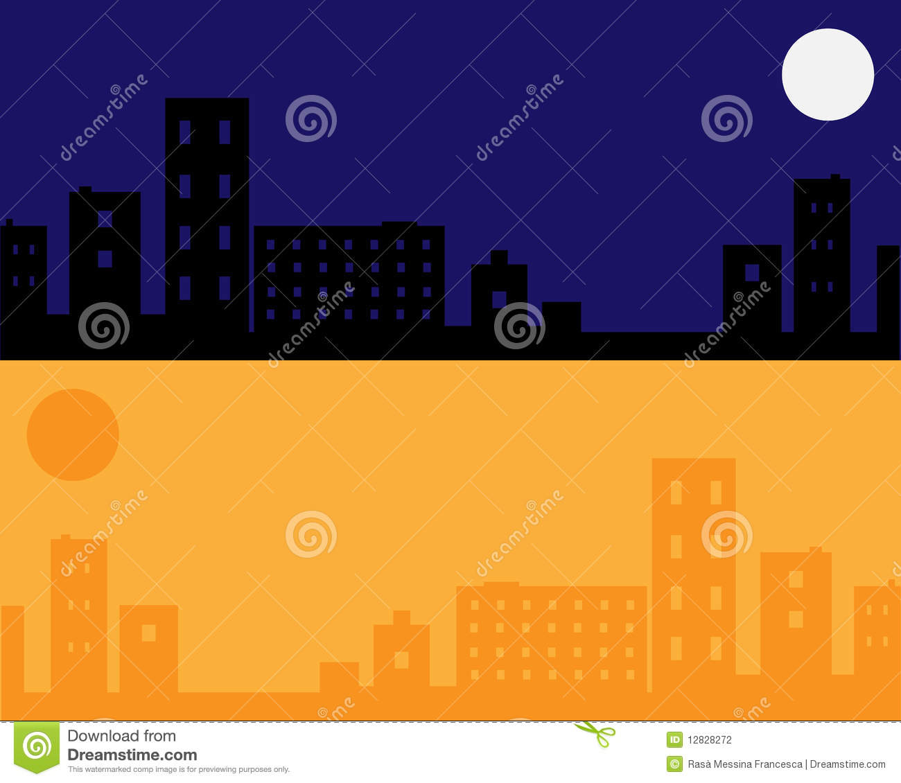 Urban night and day background - vector