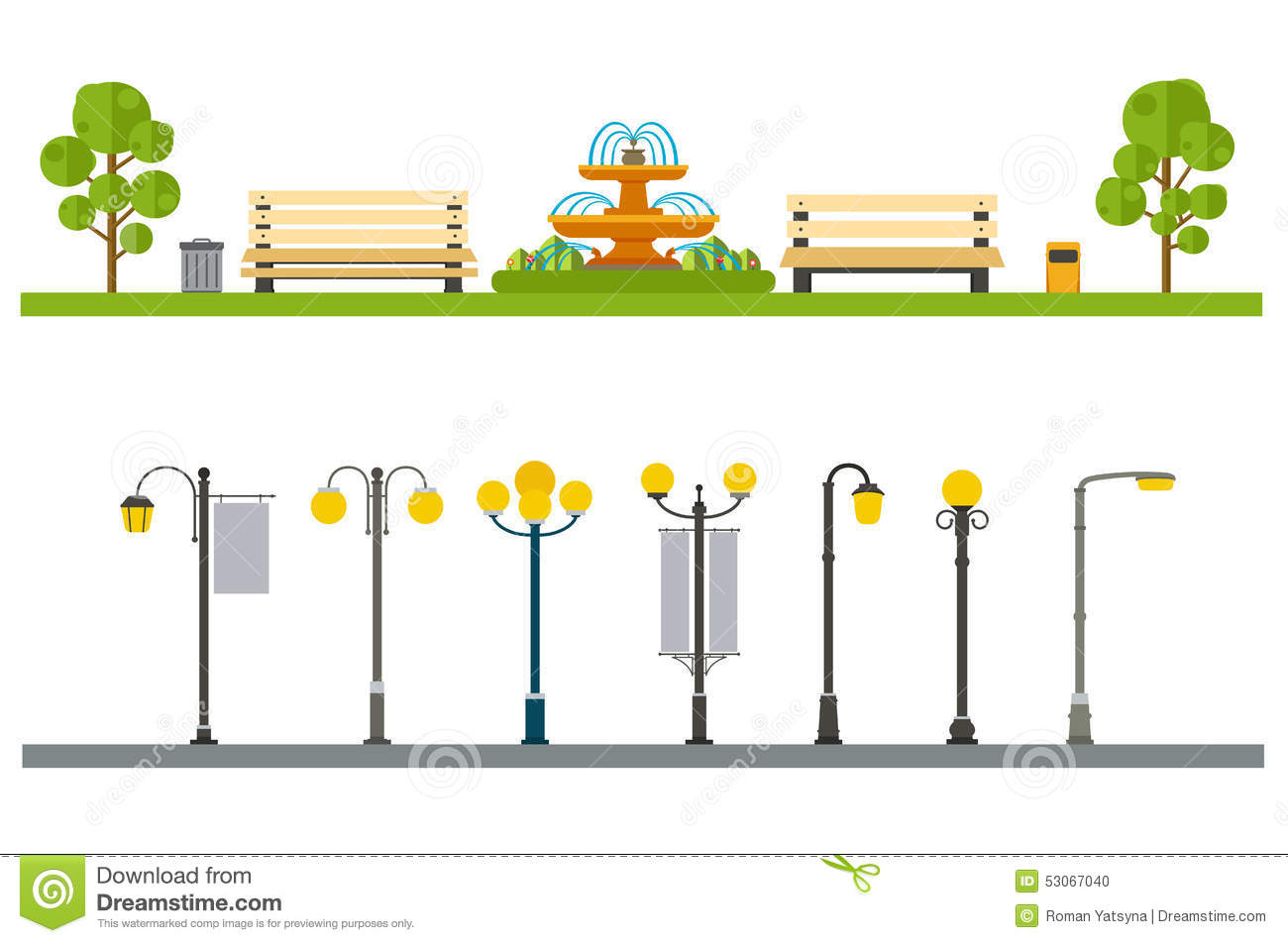Urban outdoor decor, elements parks and alleys, streets and side