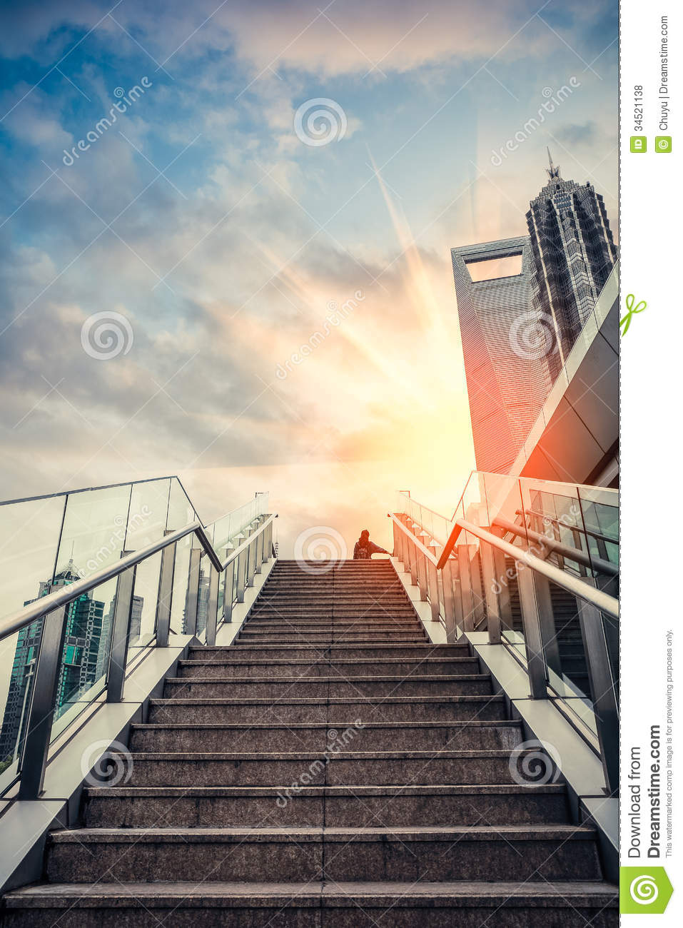Urban Outdoor Stairs In Sunset Stock Photo