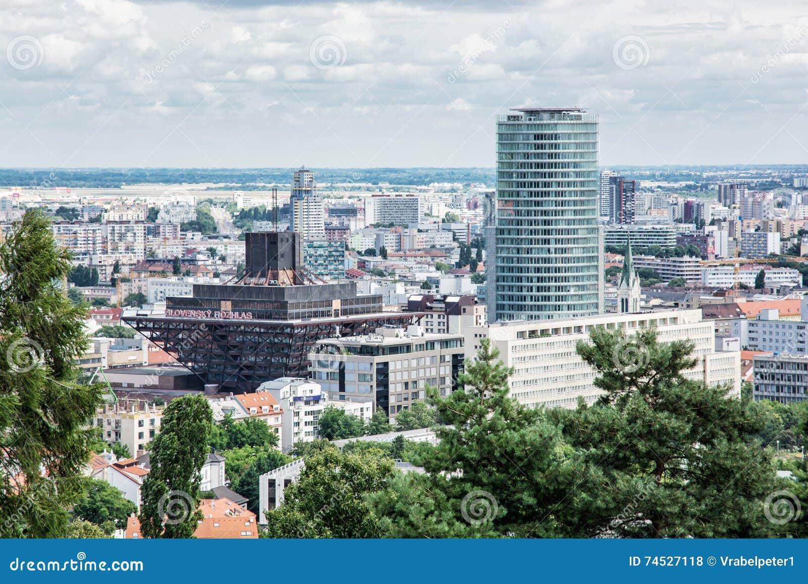 Urban scene in Bratislava, capital of Slovakia with slovak radio