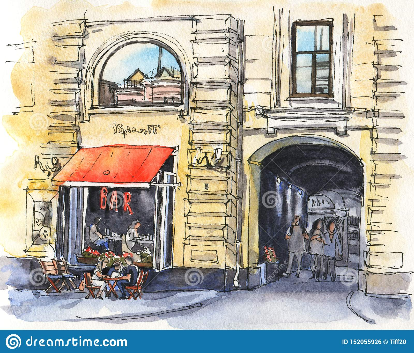 Urban Sketch Of A Street Cafe Stock Illustration Illustration Of