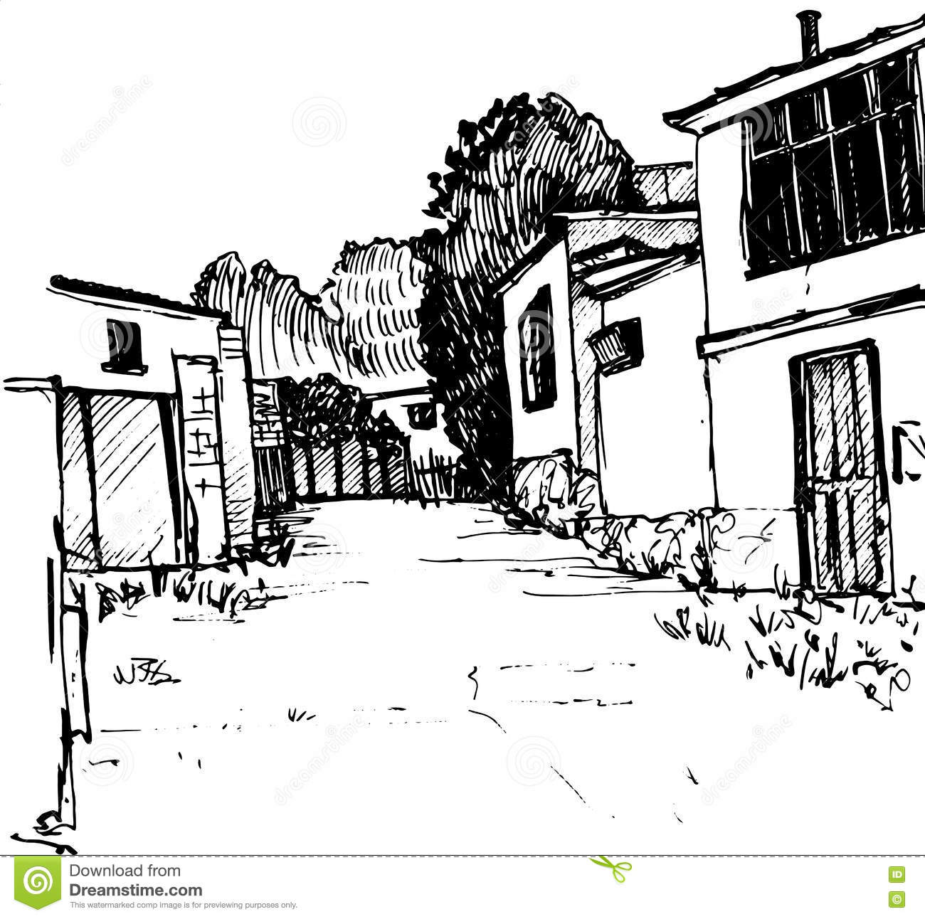 Village street urban sketch road and buildings hand drawn vector illustration by ink pen