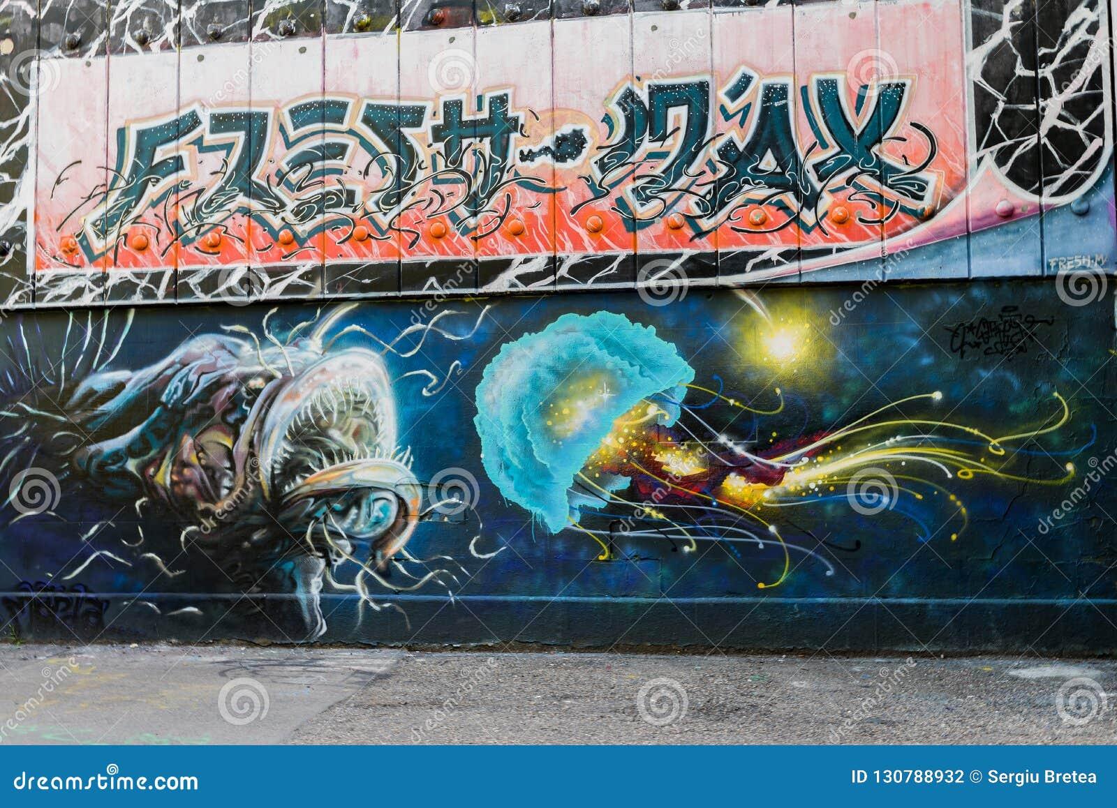 Audacieuse Urban Street Interesting Graffiti Art Editorial Photography JZ-46