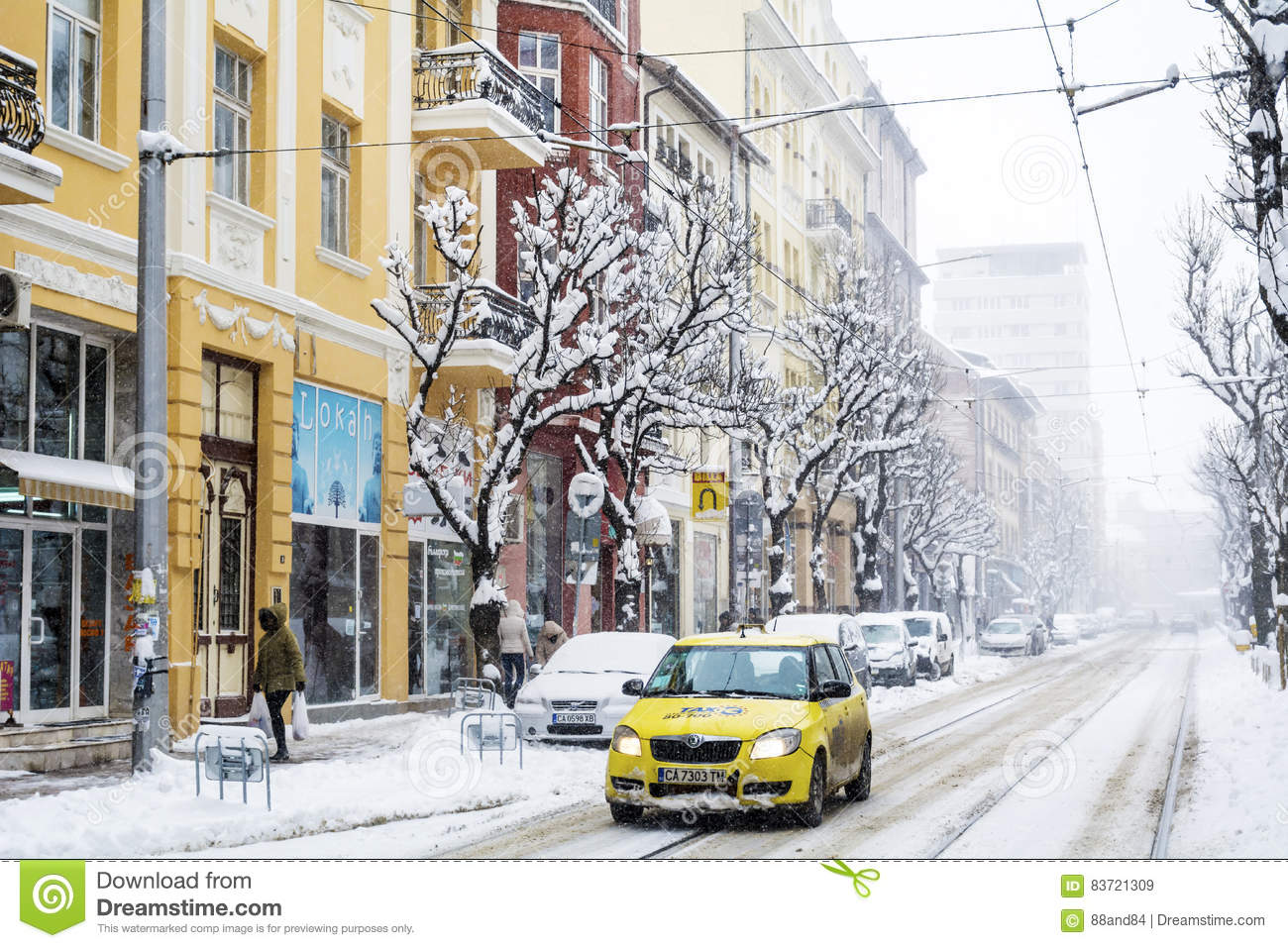 Urban Street In A Snow Storm Editorial Stock Image