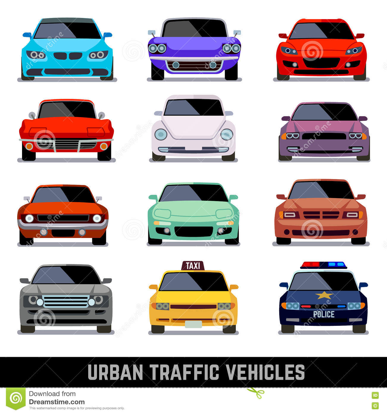Urban Traffic Vehicles, Car Icons In Flat Style Stock