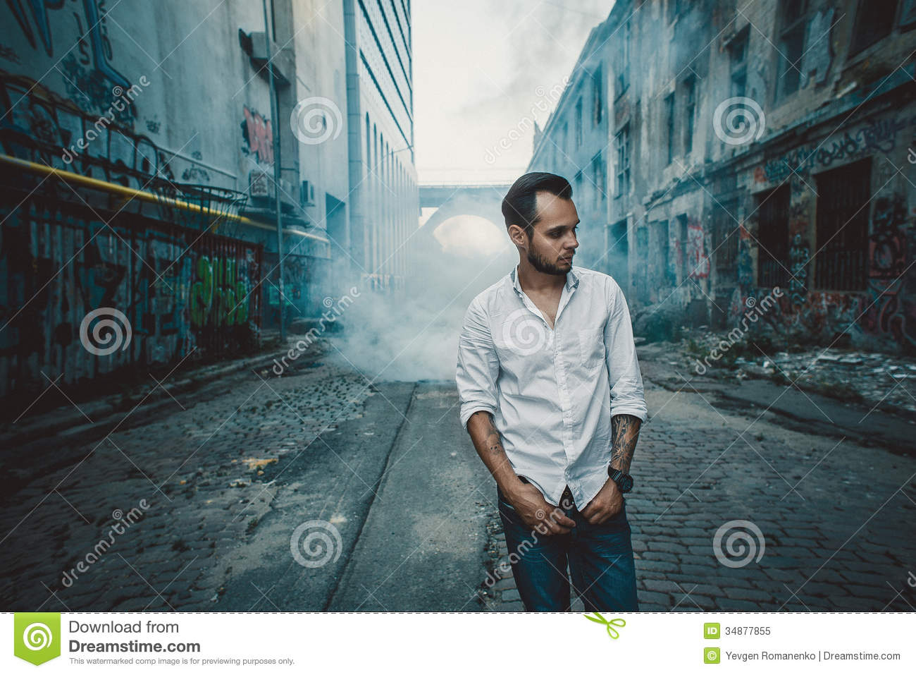 Urban Young Man Posing Outdoors Stock Image Of Fashion Wall