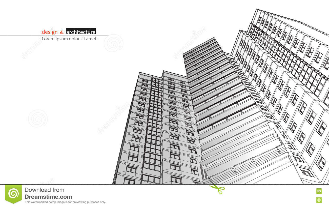 abstract 3d render of building structure  construction