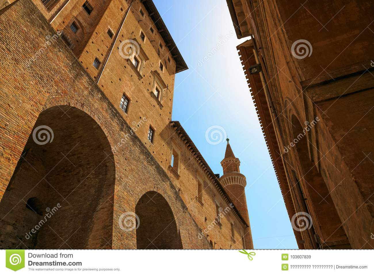 urbino italy august 9 2017 architectural elements of a building