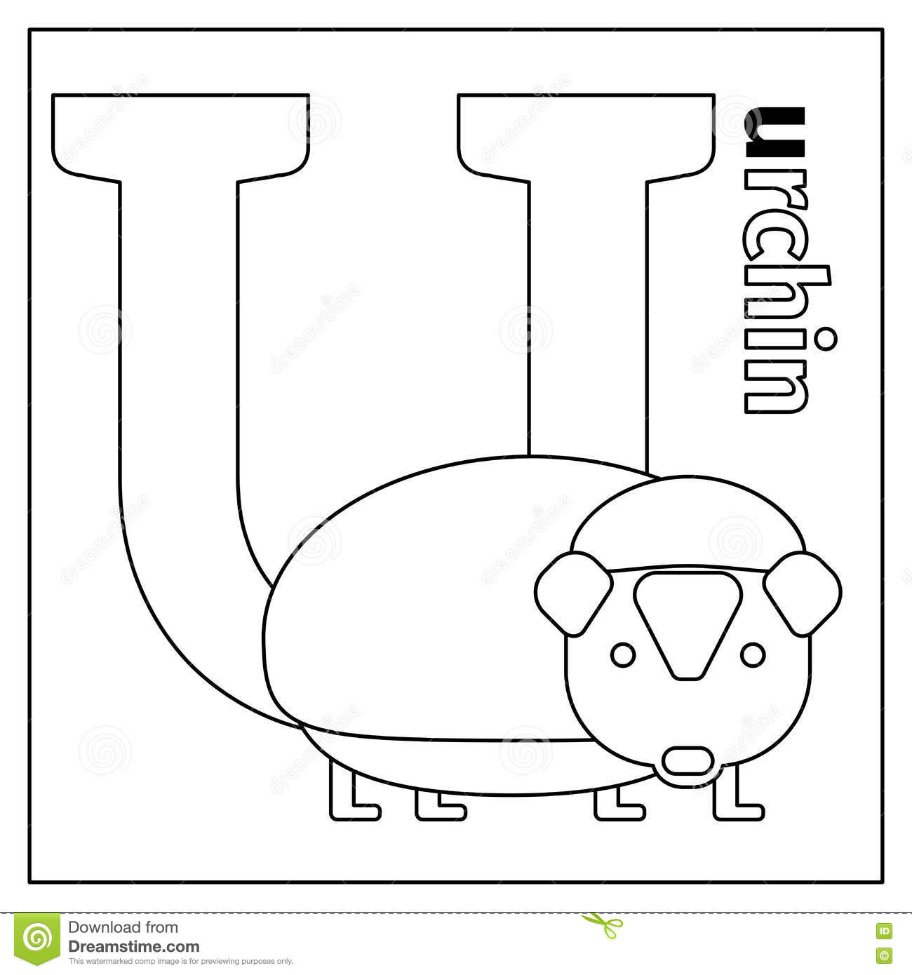 Royalty Free Vector Download Urchin Letter U Coloring Page