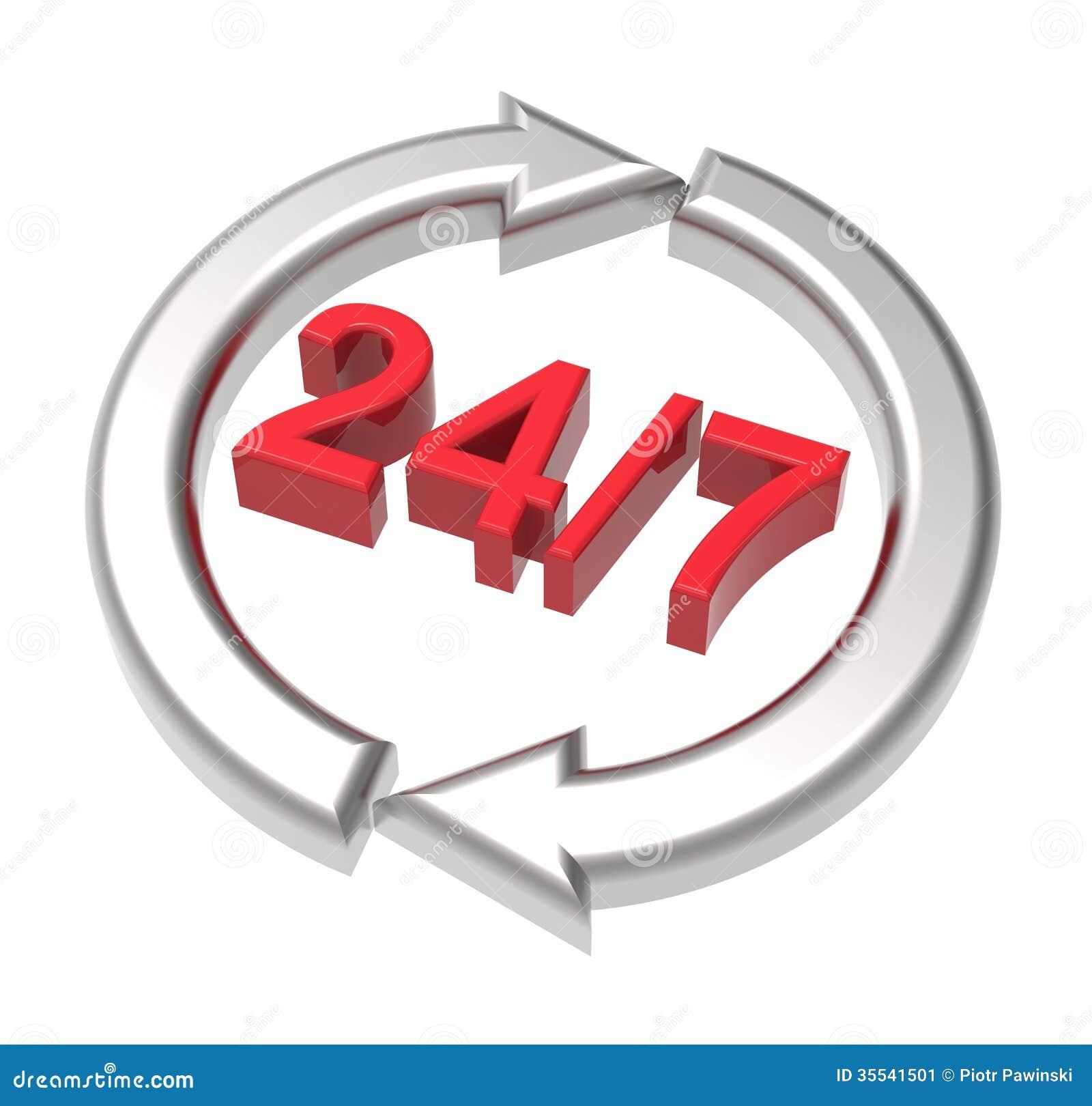 24 uren zeven dagen per week teken over wit.