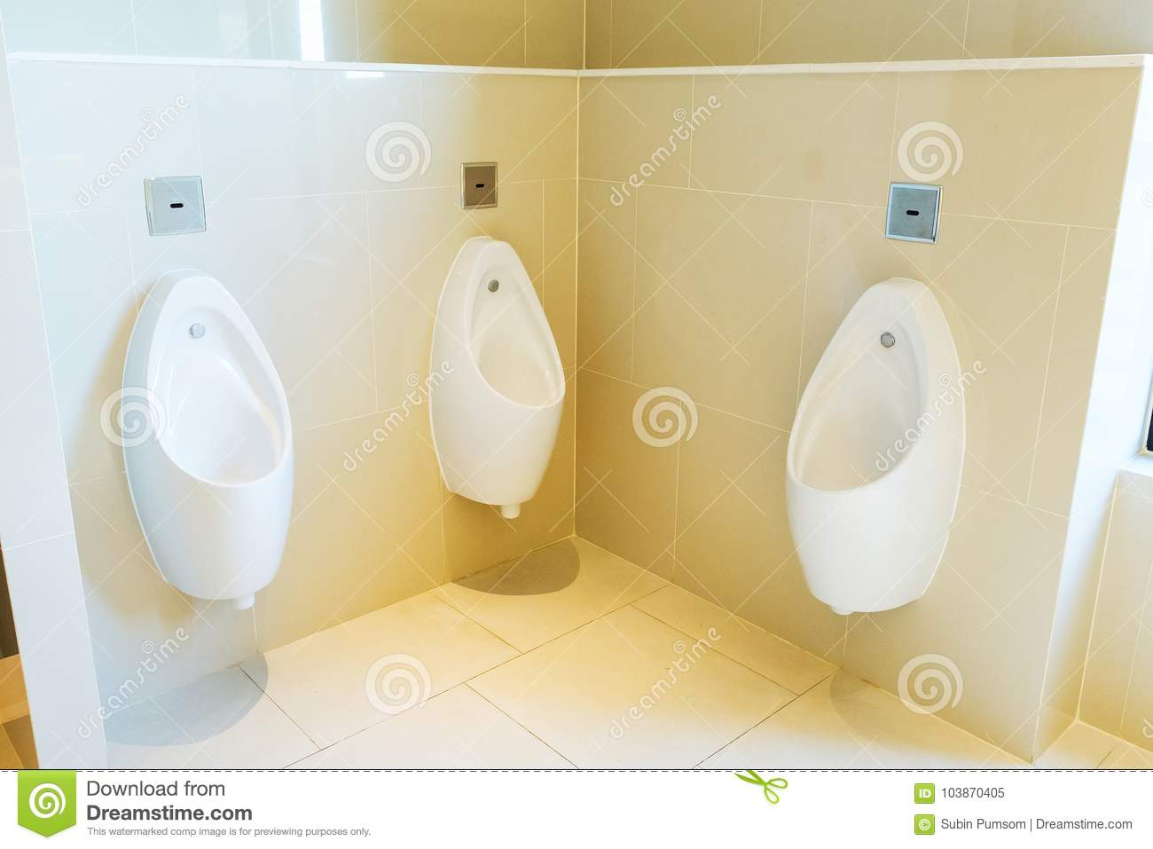 Urinals in public toilet stock image. Image of pipe - 103870405