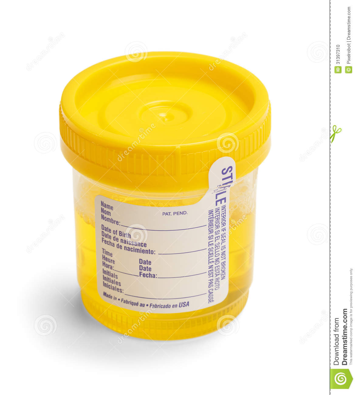 Urine Test Cup with Broken Seal and Blank Label. Isolated on White ...
