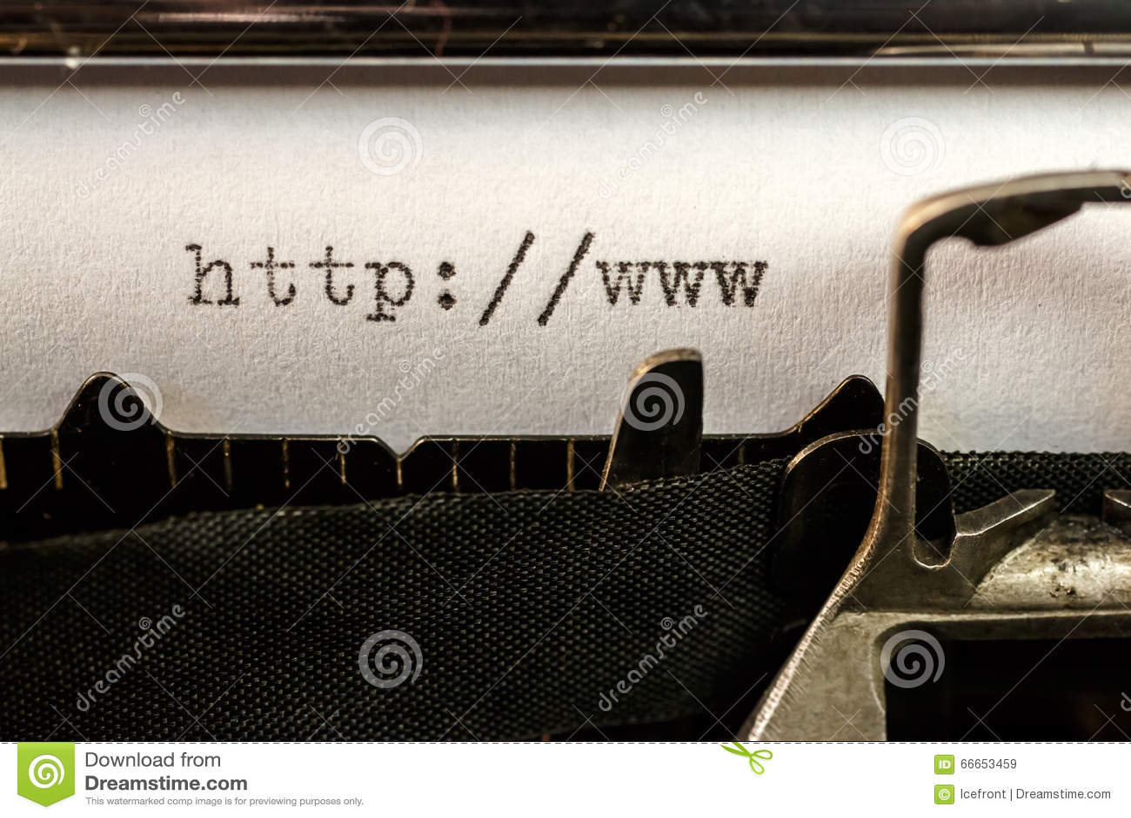 Url text beginning written by old typewriter