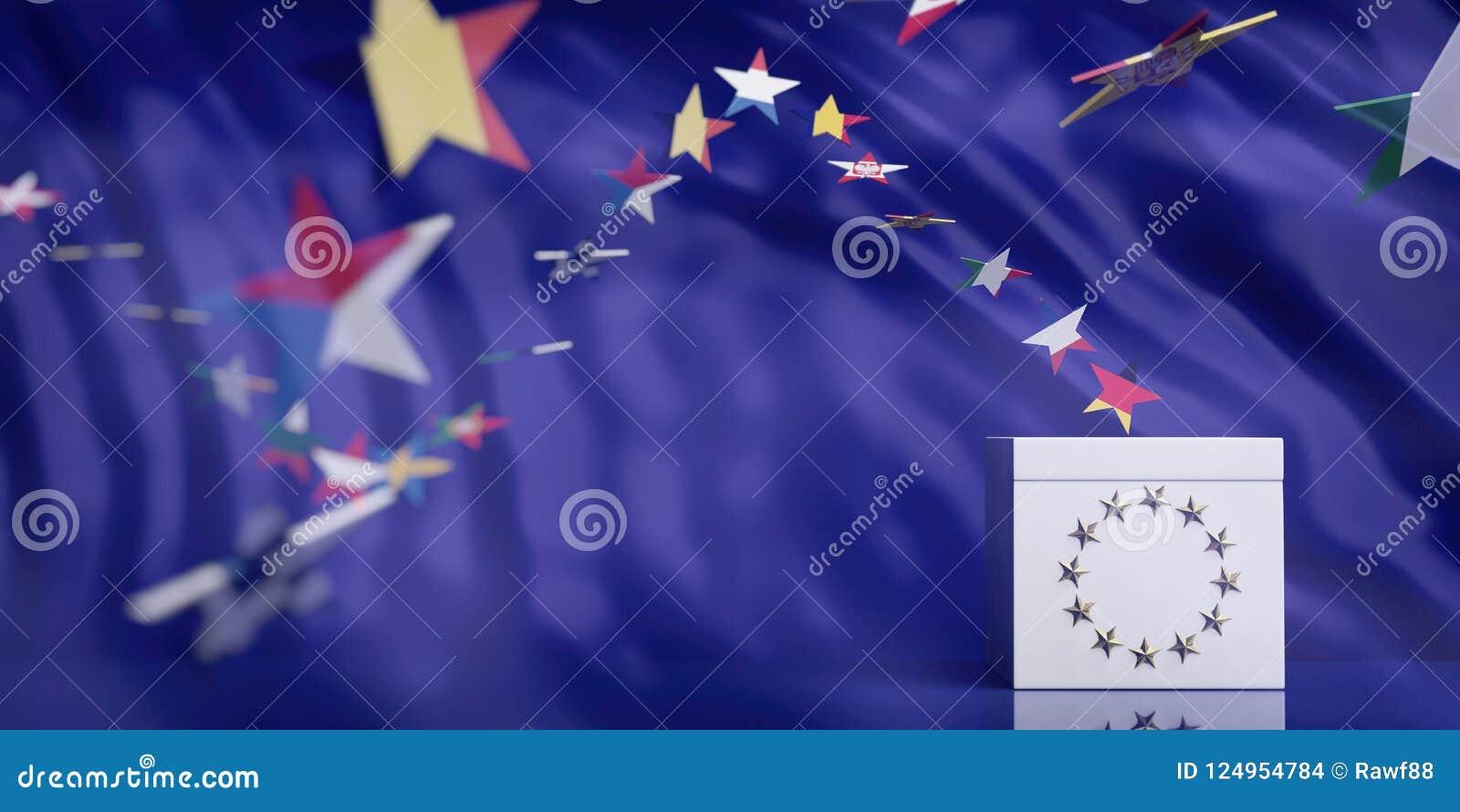 Urna blanca en fondo del extracto de la bandera de unión europea ilustración 3D