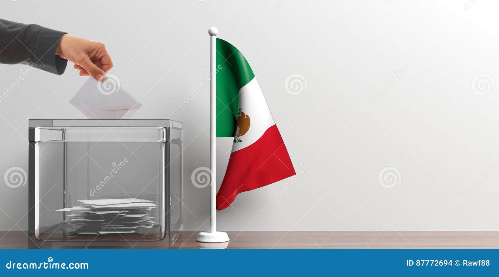 Urna de voto e uma bandeira pequena de México ilustração 3D
