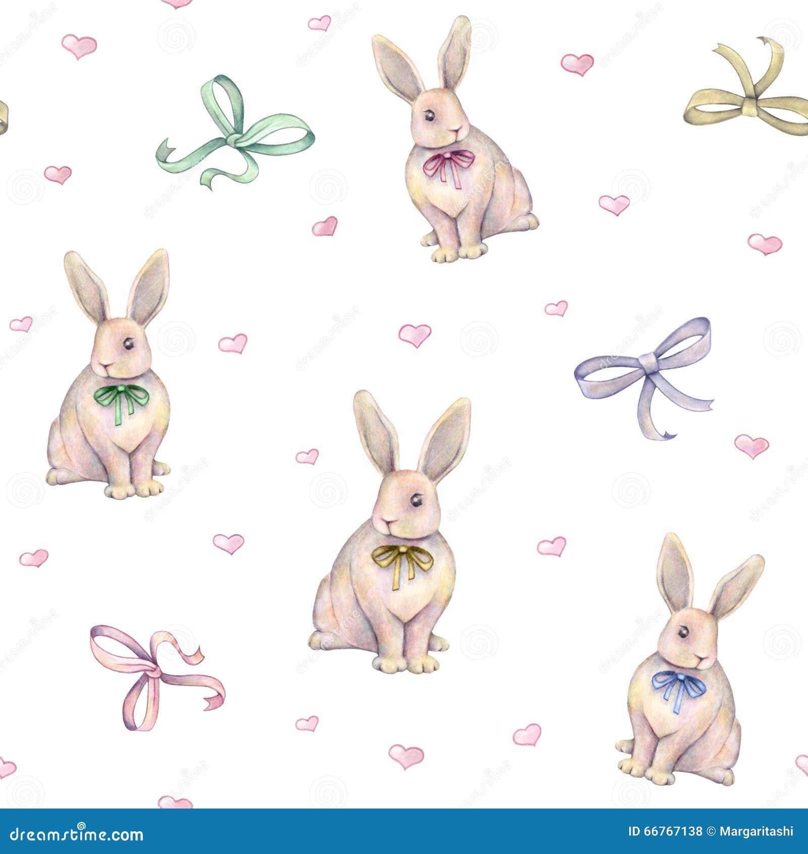 Uroczy akwarela królik z łękiem na białym tle banki target2394_1_ kwiatonośnego rzecznego drzew akwareli cewienie handwork bezszw