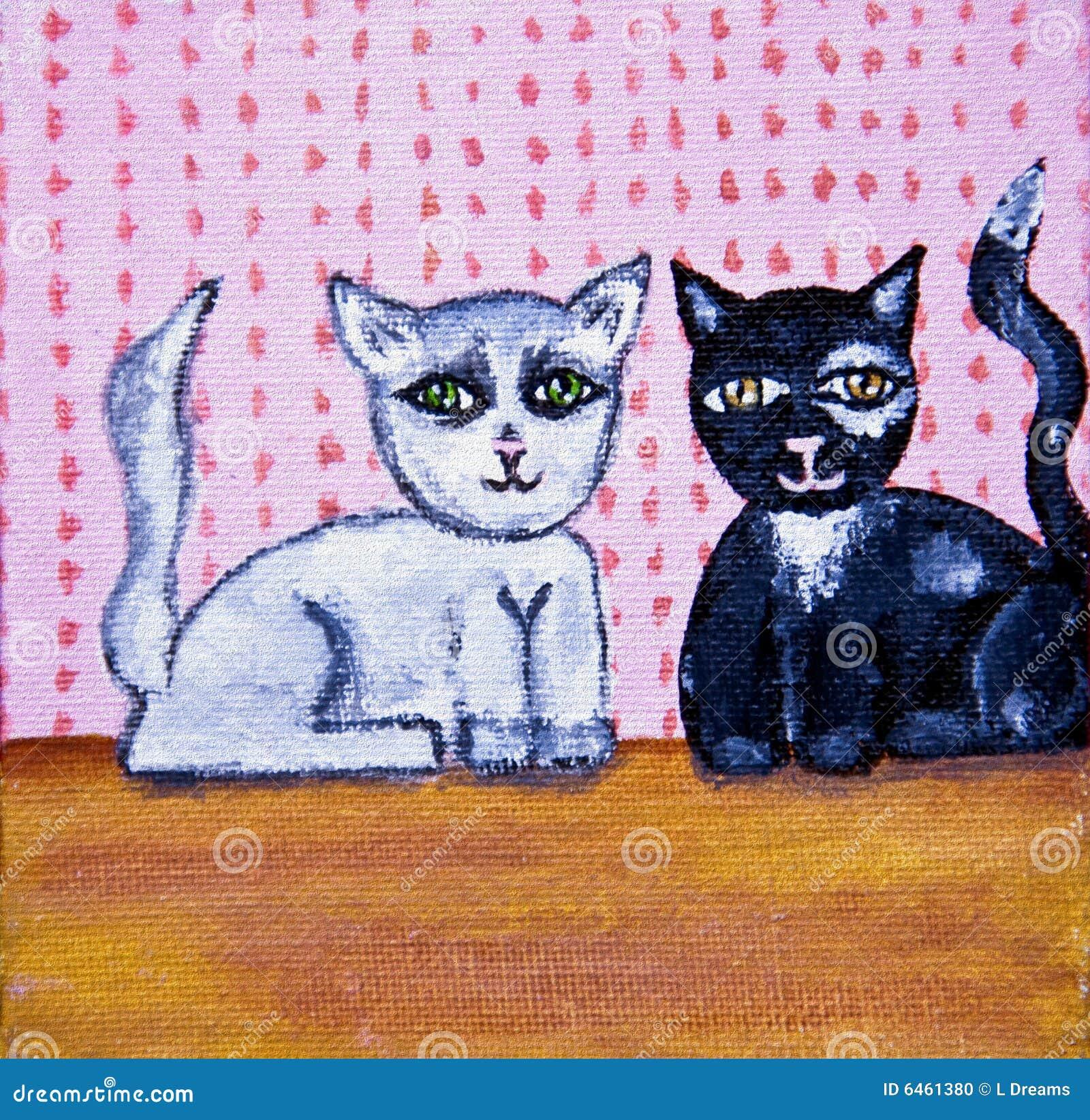 Uroczy ludzie sztuki kotów