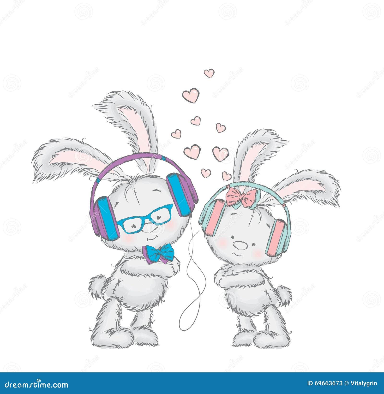 Uroczy zajączków hełmofony Pary w Miłości Pocztówka z królikami