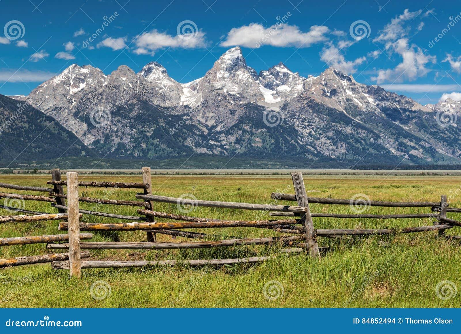 Uroczysty Tetons i corral ogrodzenie