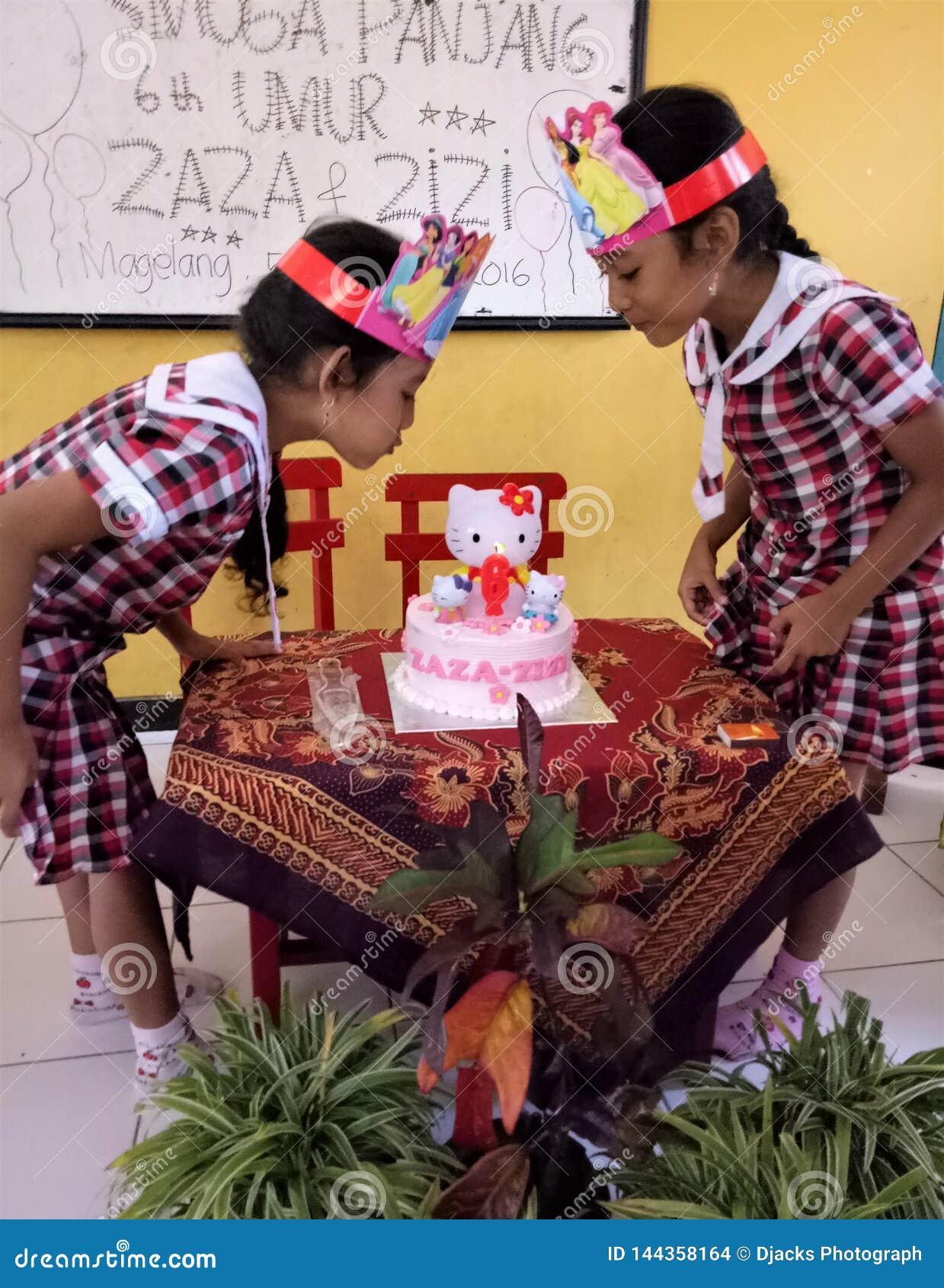 Urodzinowa bliźniacza mała dziewczynka