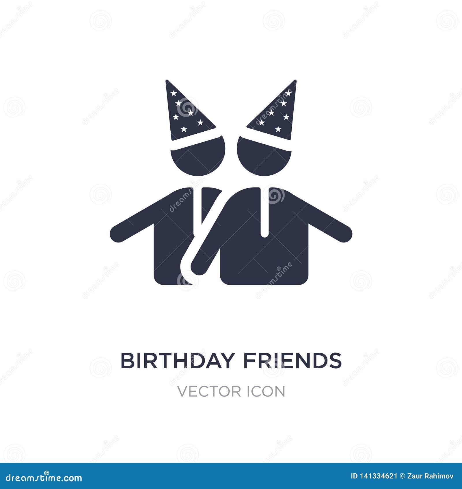 Urodzinowa przyjaciel ikona na białym tle Prosta element ilustracja od Partyjnego pojęcia