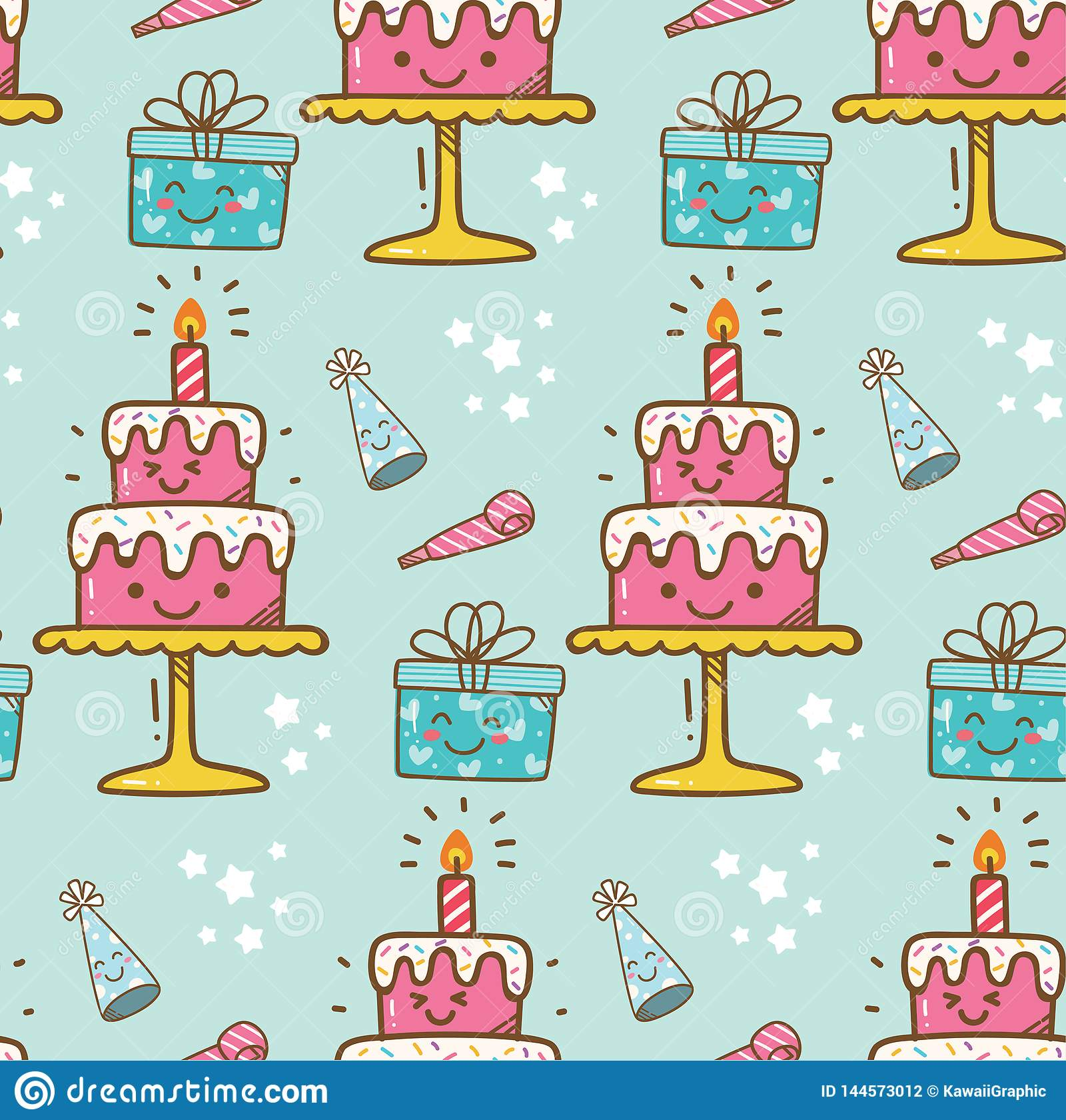 Urodzinowego torta kawaii tło