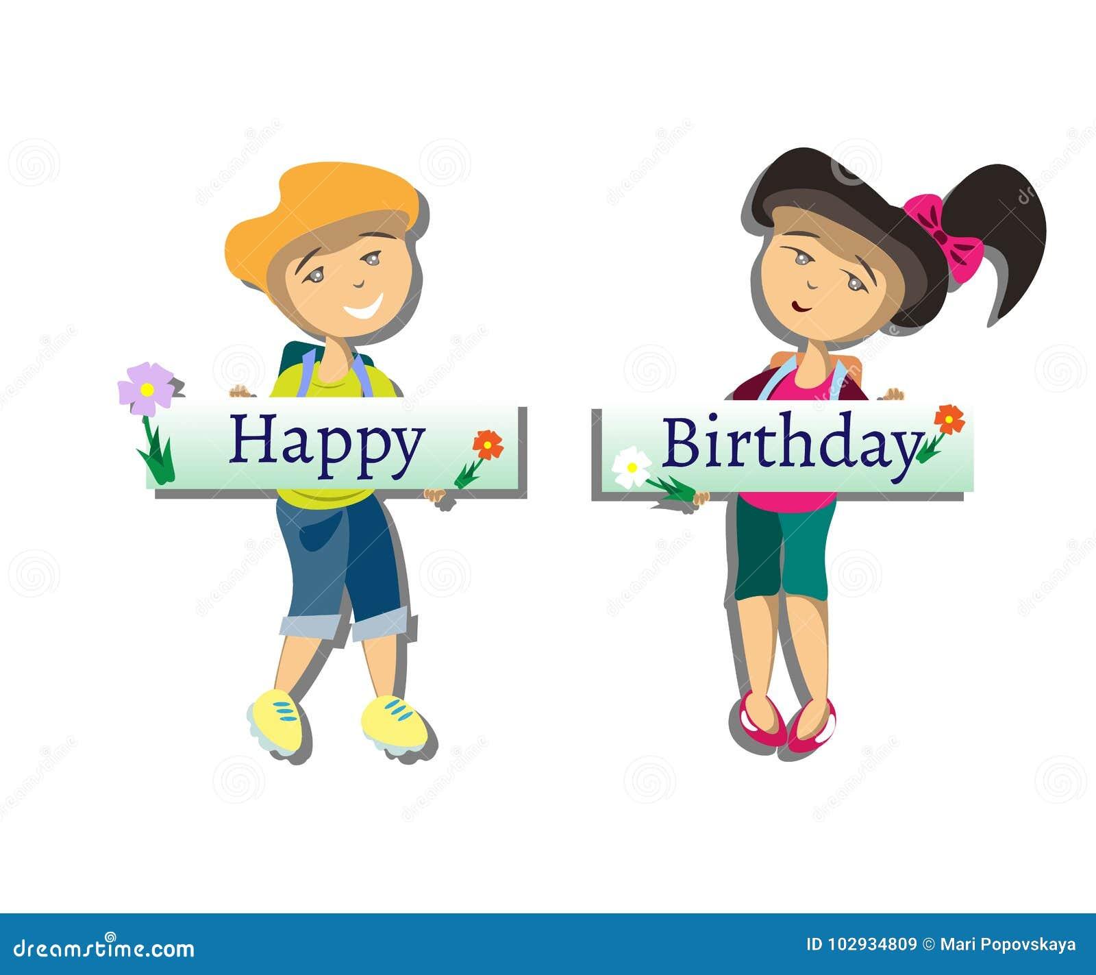 Urodzinowi szczęśliwi dzieciaki