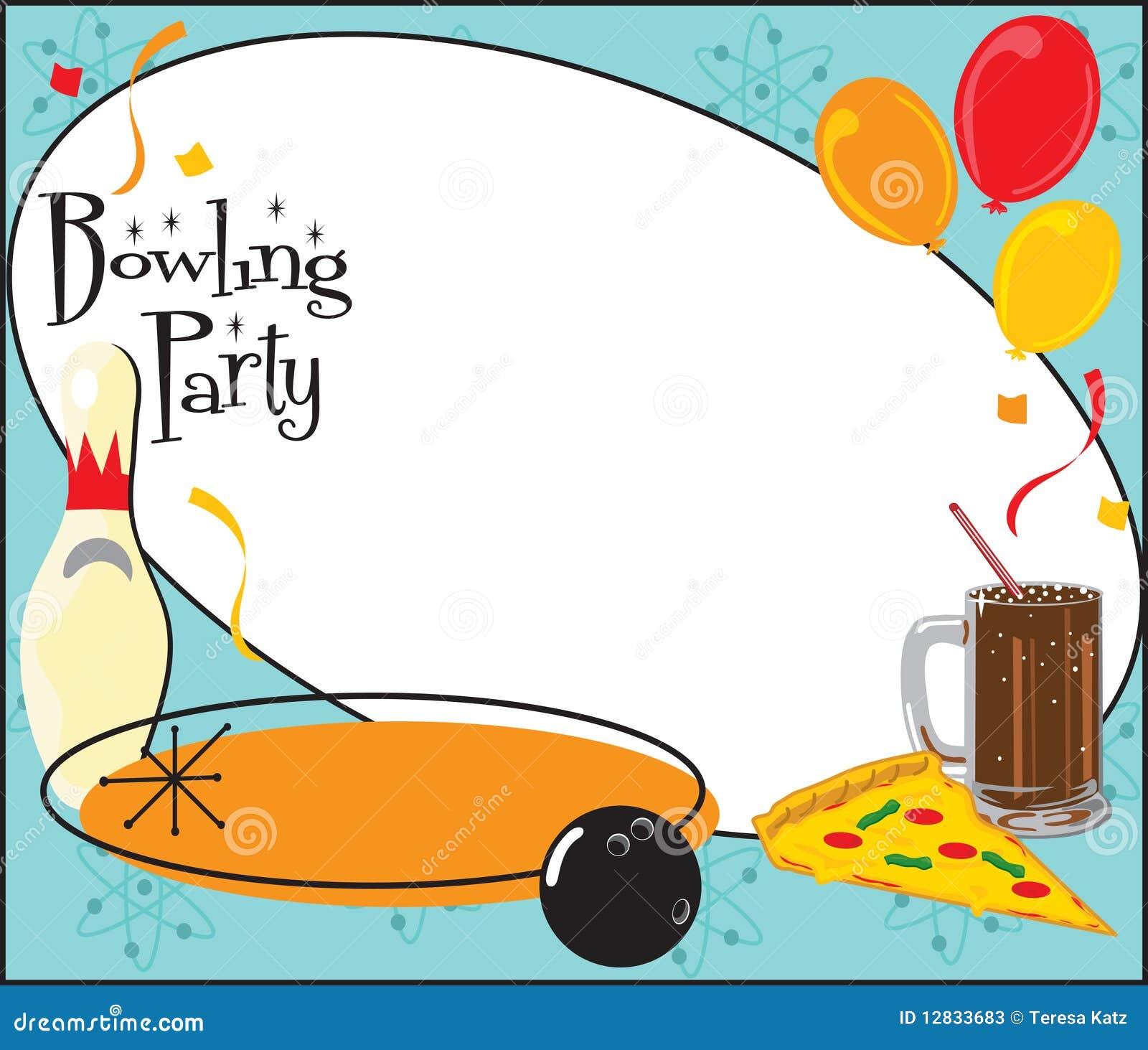 Urodzinowy Kręgli Zaproszenia Przyjęcie Ilustracja Wektor