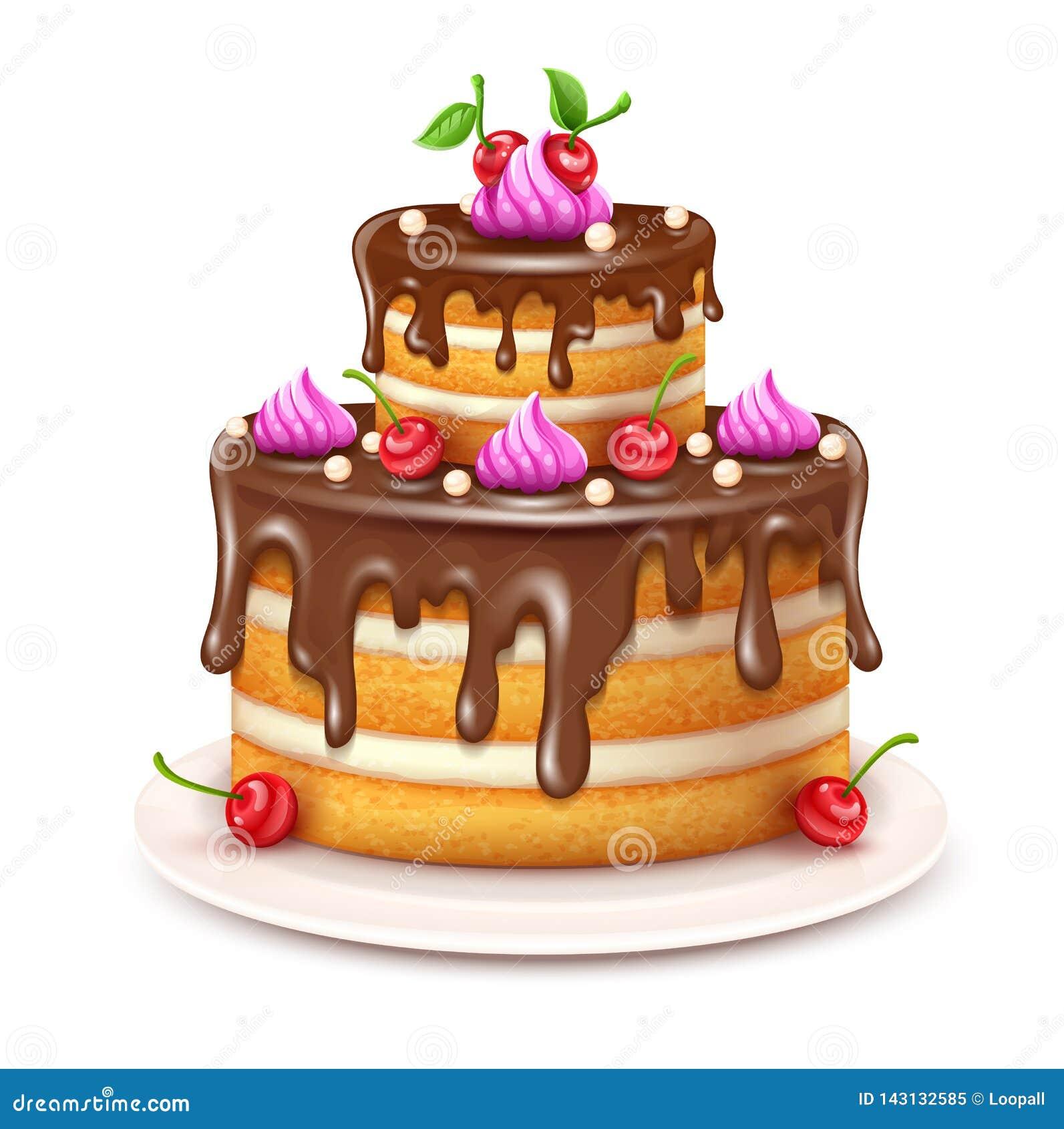 Urodzinowy tort z czekoladowym creme i wiśniami wektorowymi ilustracja