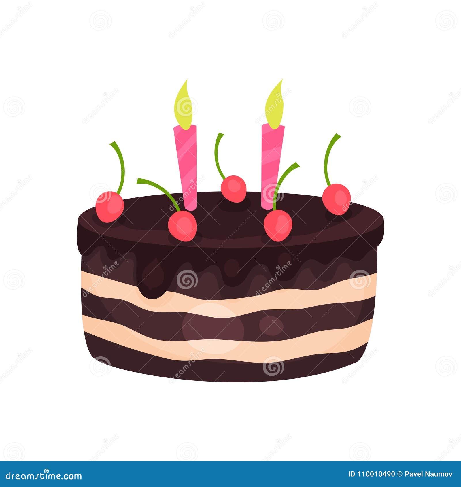 Urodzinowy tort z trzy płonącymi świeczkami i czerwonymi wiśniami Smakowity czekoladowy deser Kreskówka płaski wektorowy projekt