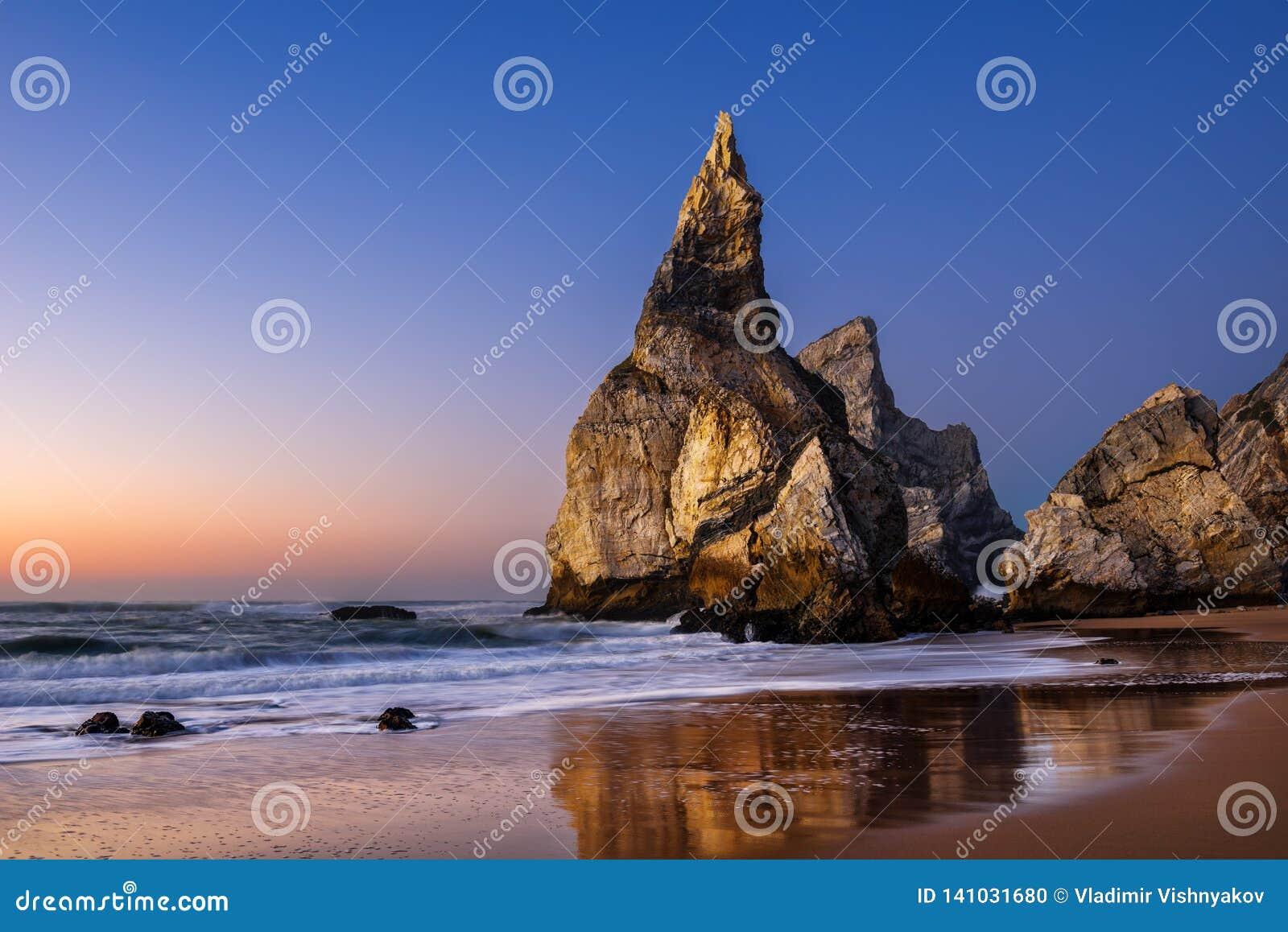 Ursa beach at sunset, Sintra, Portugal