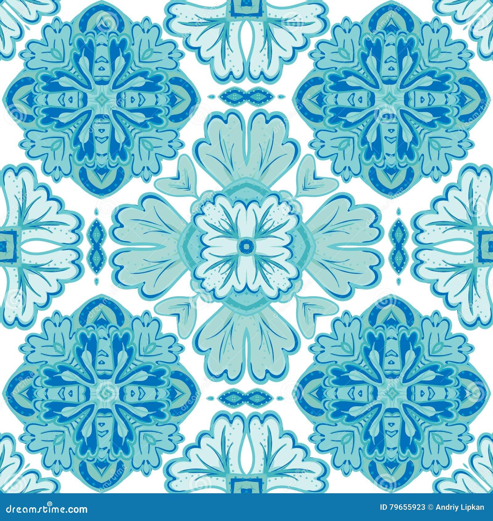 Ursnygg sömlös patchworkmodell från mörker - vit marockanskt för blått och, portugistegelplattor, Azulejo, prydnader