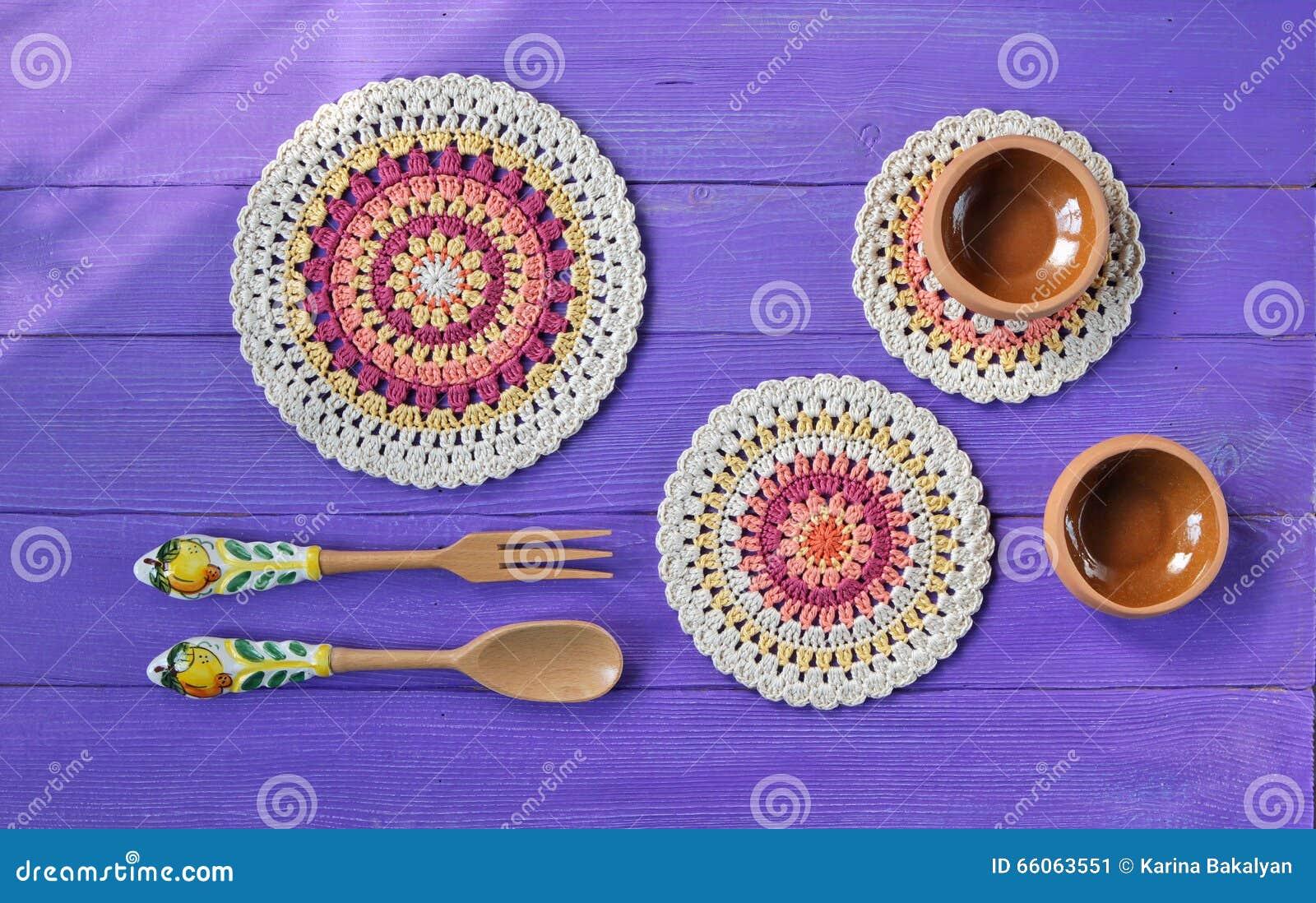 Ursnygga Mandala Crochet Doilies, bestick