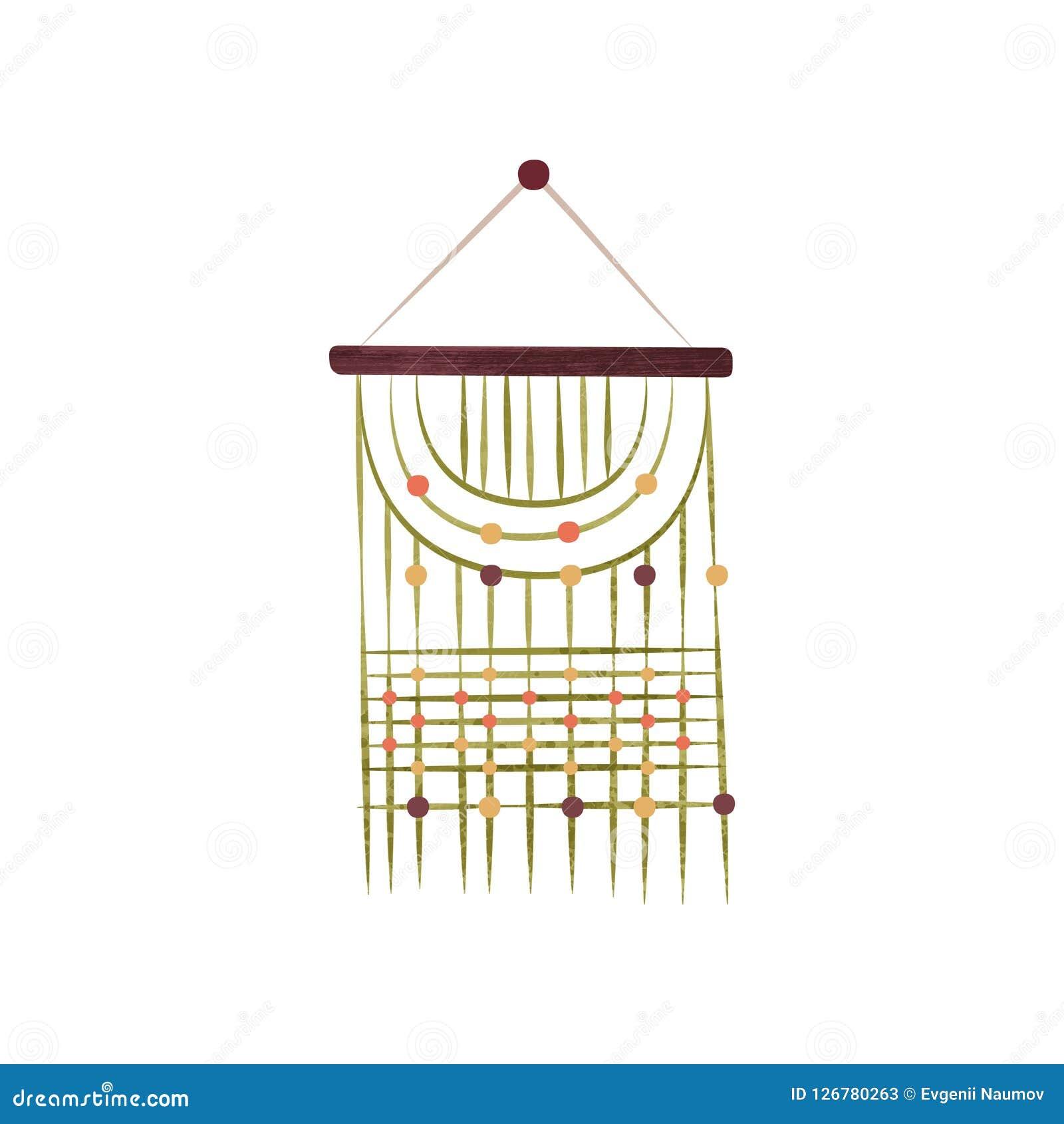 Ursnyggt hänga för makramévägg Handgjord garnering för hem Objekt som göras av bomullskabel Plan vektor med textur