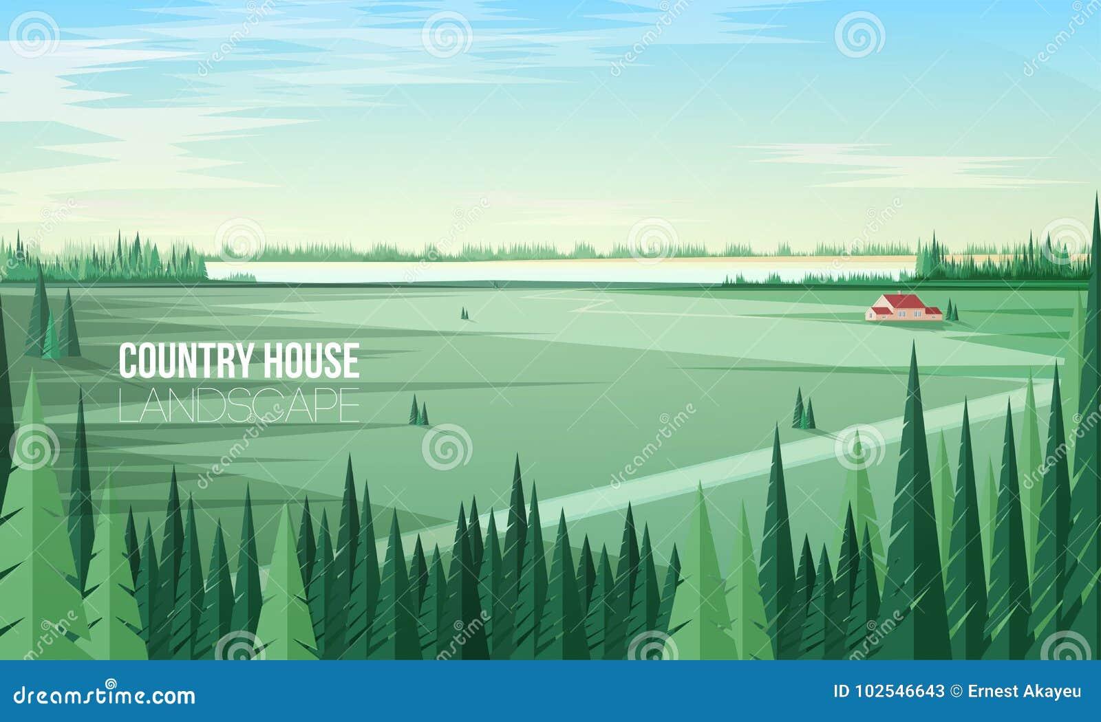 Ursnyggt lantligt landskap med gröna barrskogträd på förgrunds- och lantgårdbyggnads- eller för landshuset anseende in
