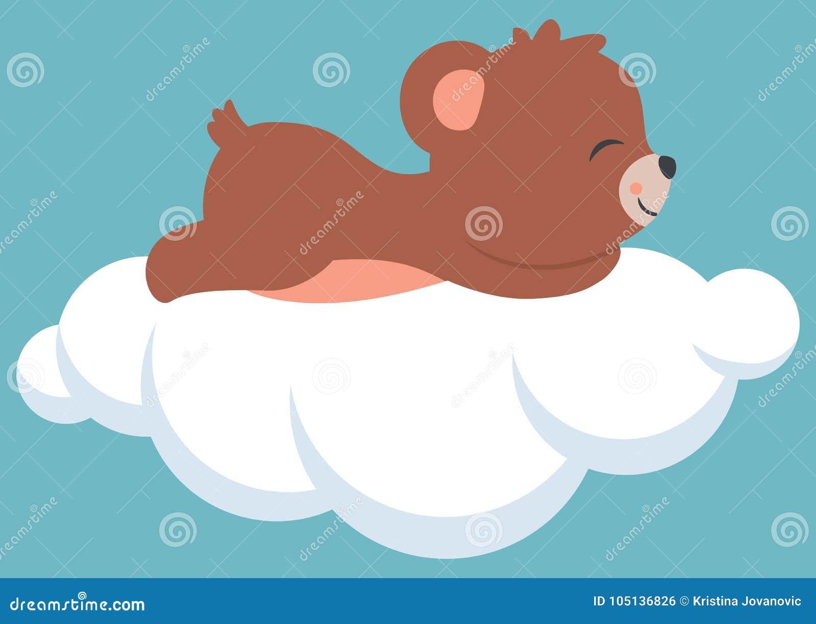 Urso Bonito Do Bebe Que Dorme Em Uma Festa Do Bebe Da Nuvem