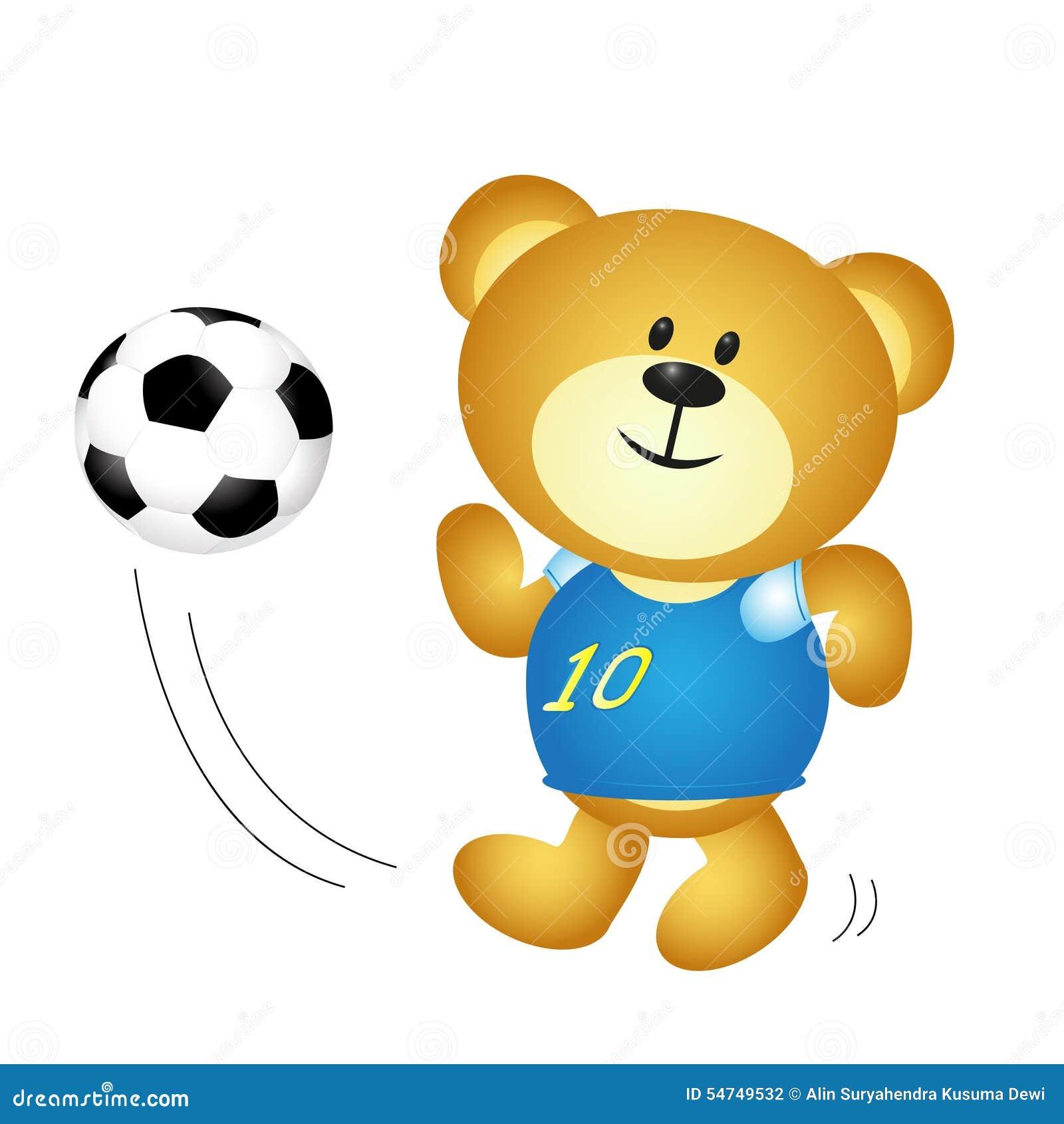Urso Bonito Do Menino Dos Desenhos Animados Que Joga O Futebol