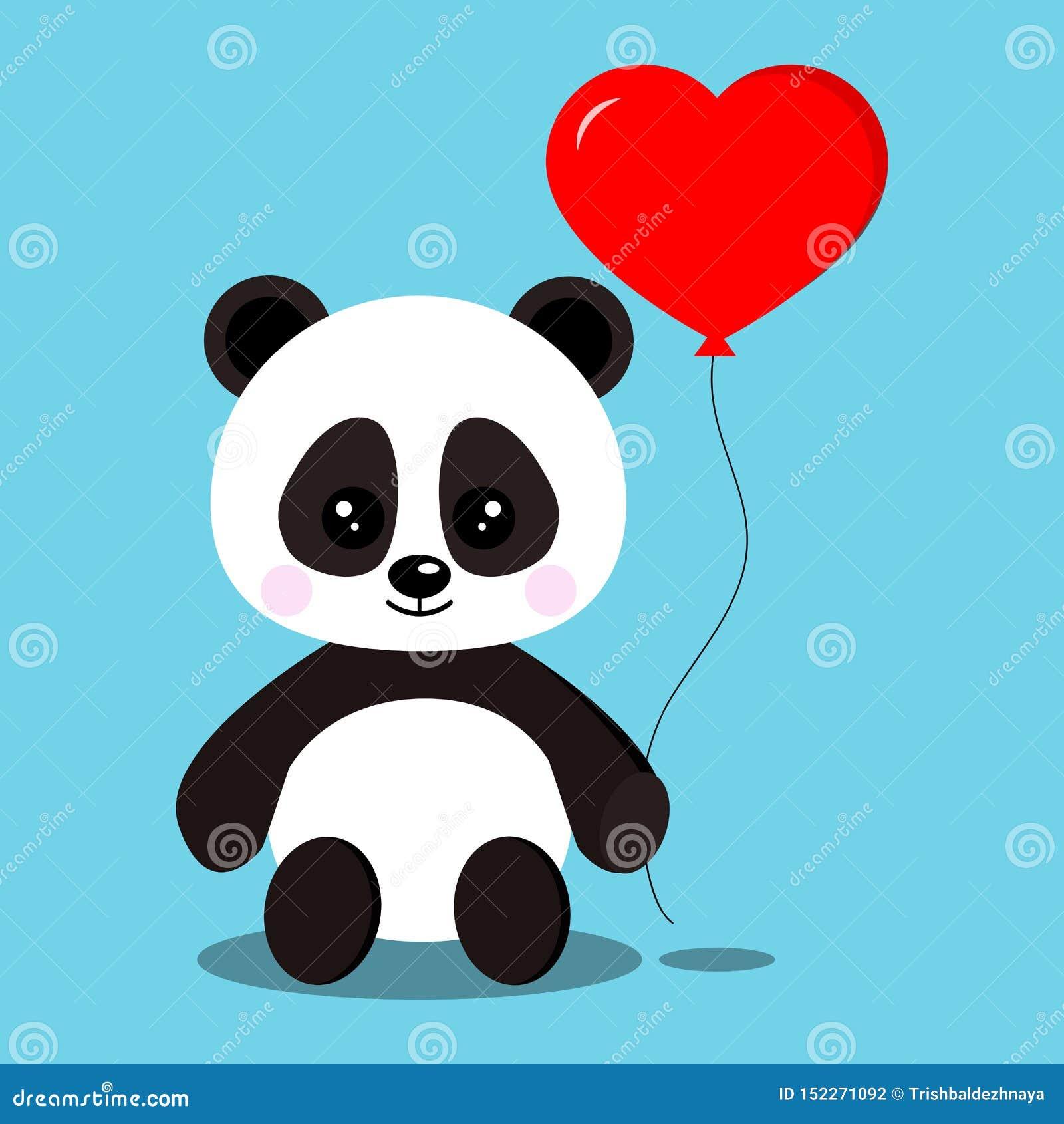 Urso de panda doce e bonito romântico isolado do bebê