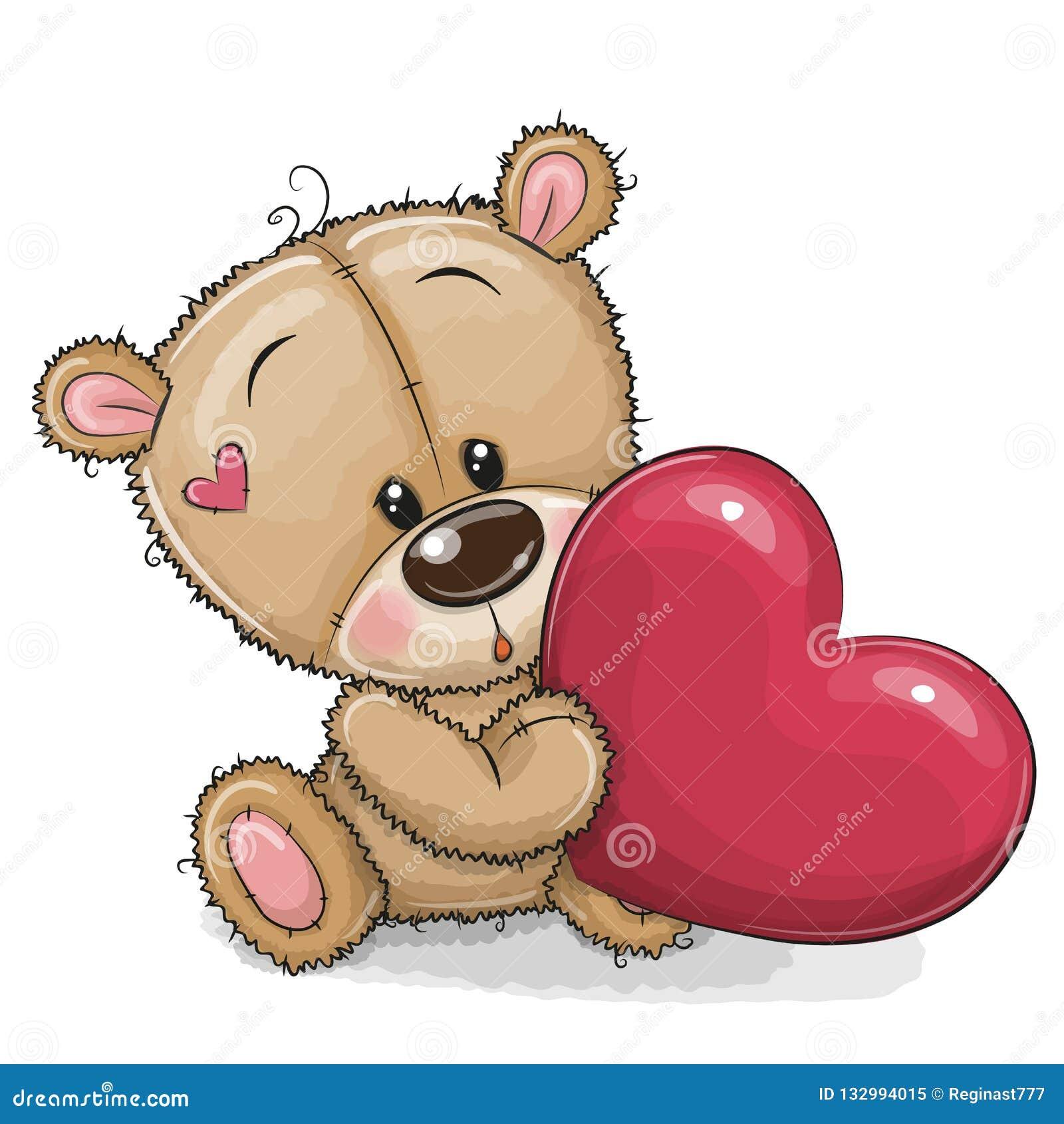 Urso de peluche bonito com coração