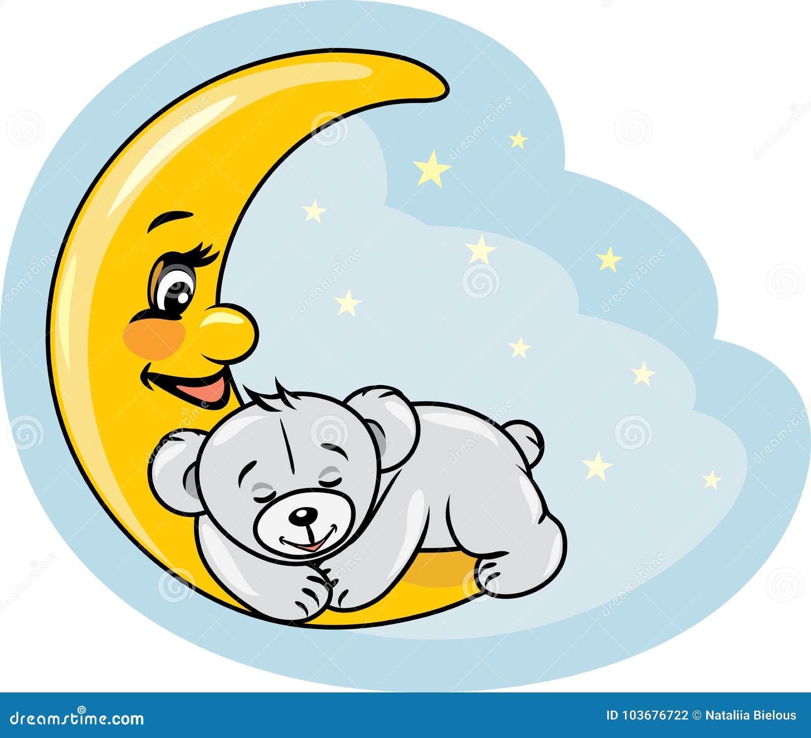 Urso de peluche do sono na lua