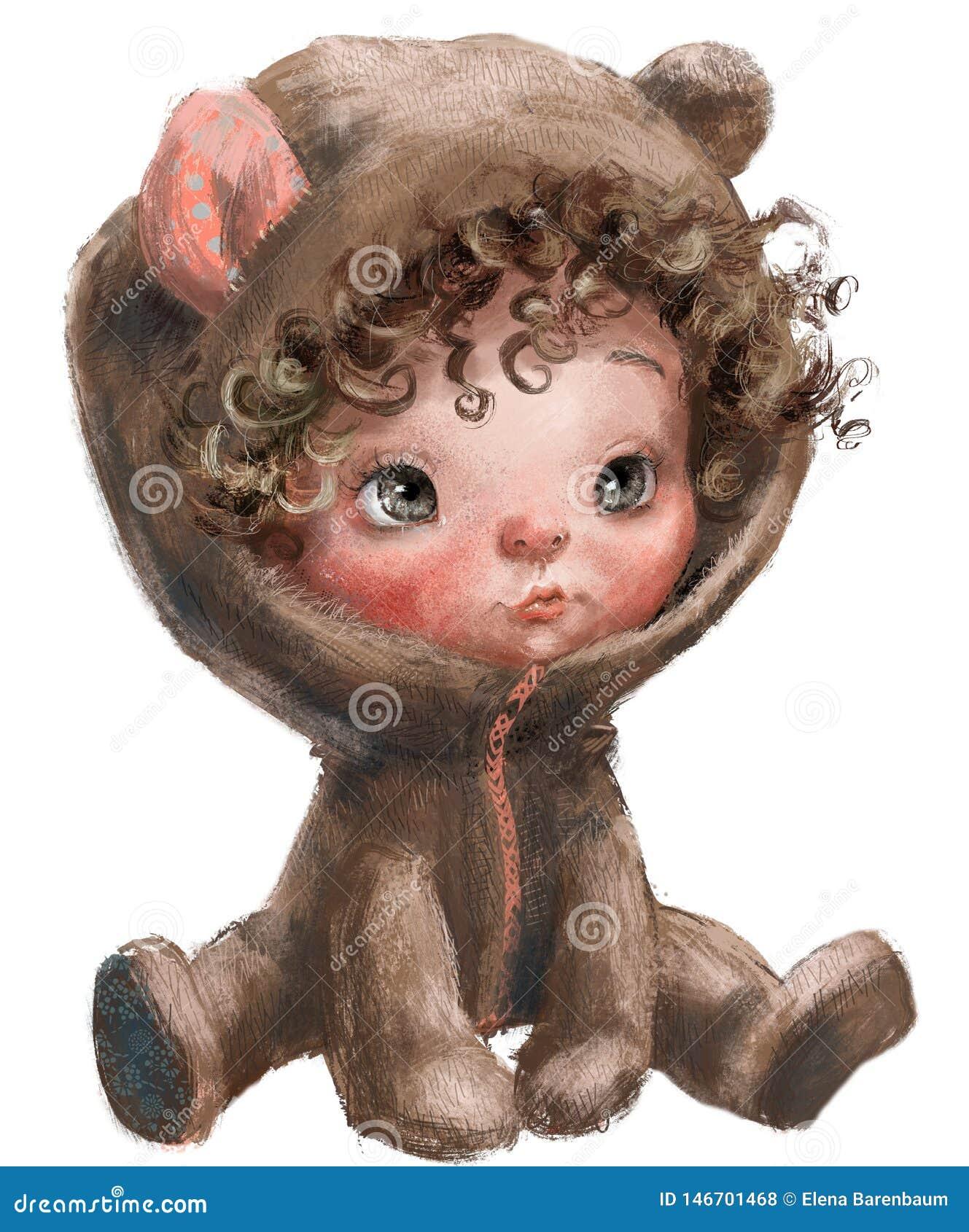 Urso De Peluche Dos Desenhos Animados Beb Com Cabelos Ondulados