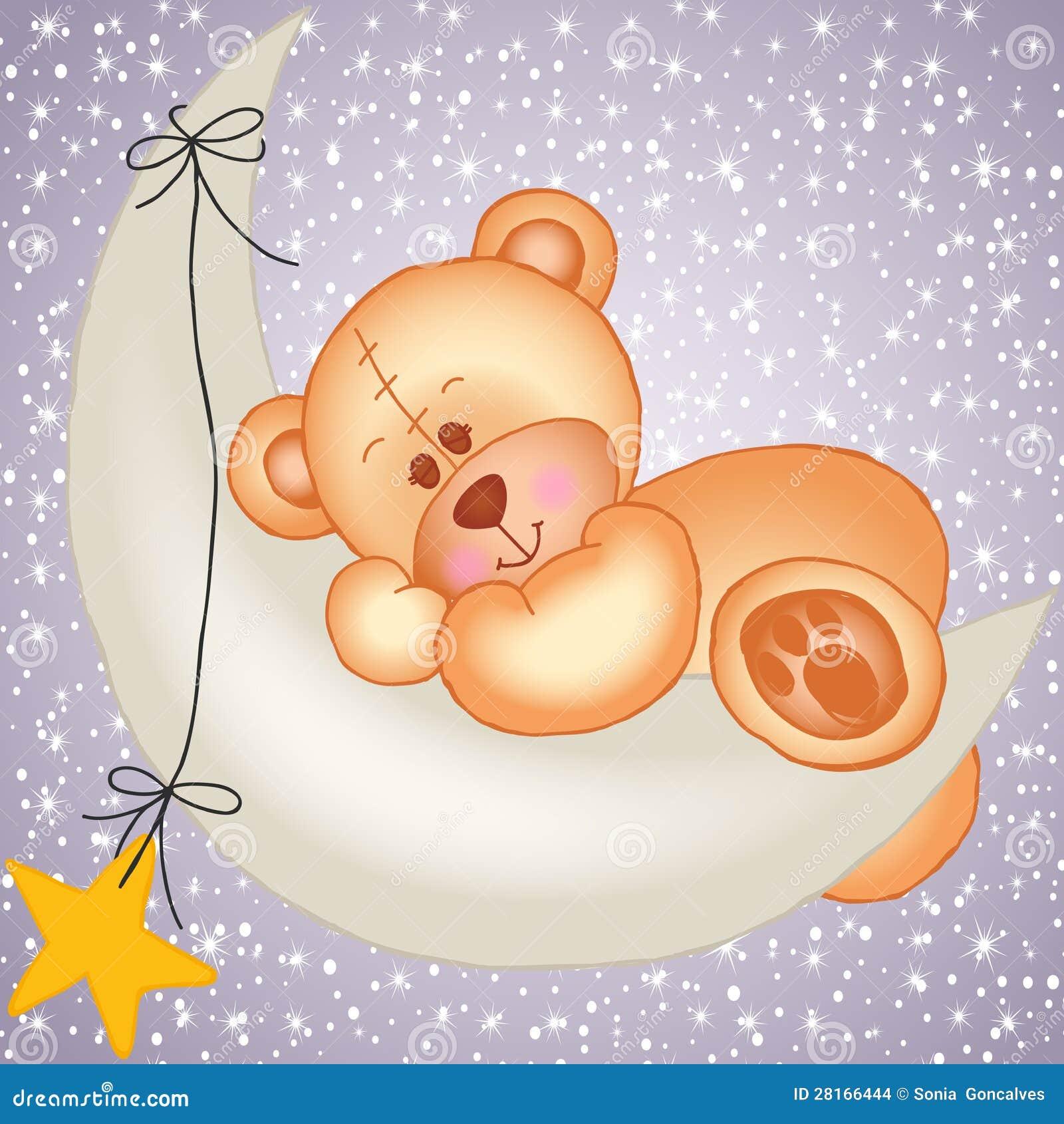 Urso de peluche que dorme em uma lua