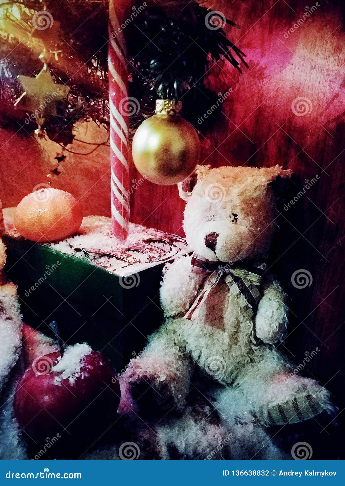 Urso do Natal e bastão do caramelo