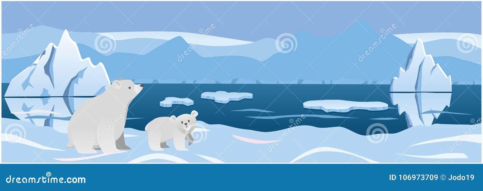 Urso dois branco no gelo do ártico do fundo