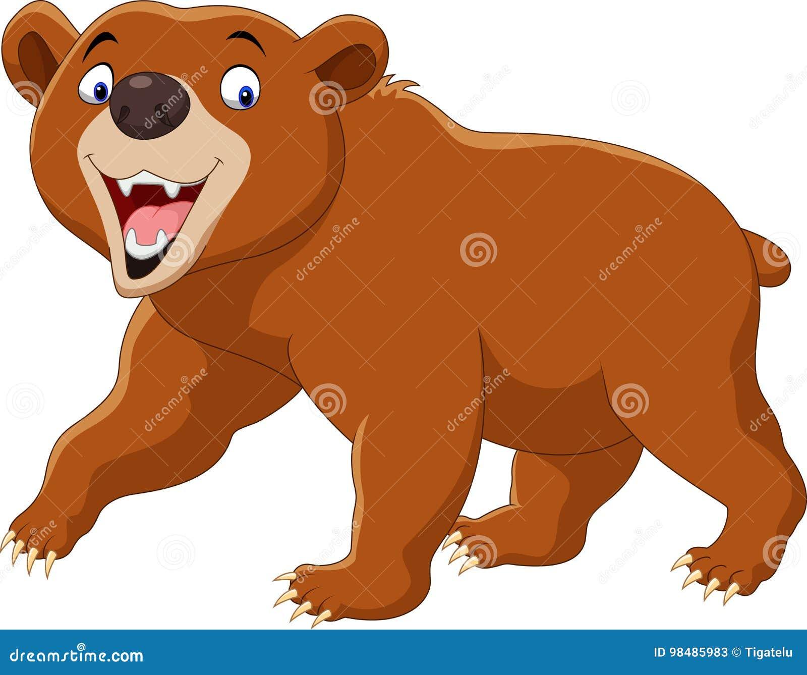urso marrom dos desenhos animados isolado no fundo branco ilustração