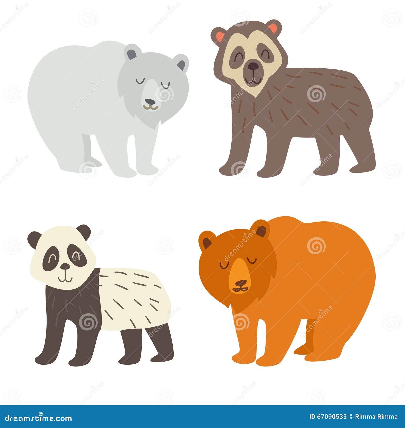 7d865d9e16ae7 Urso polar grupo de óculos do urso da panda e do urso marrom ilustração  lisa do